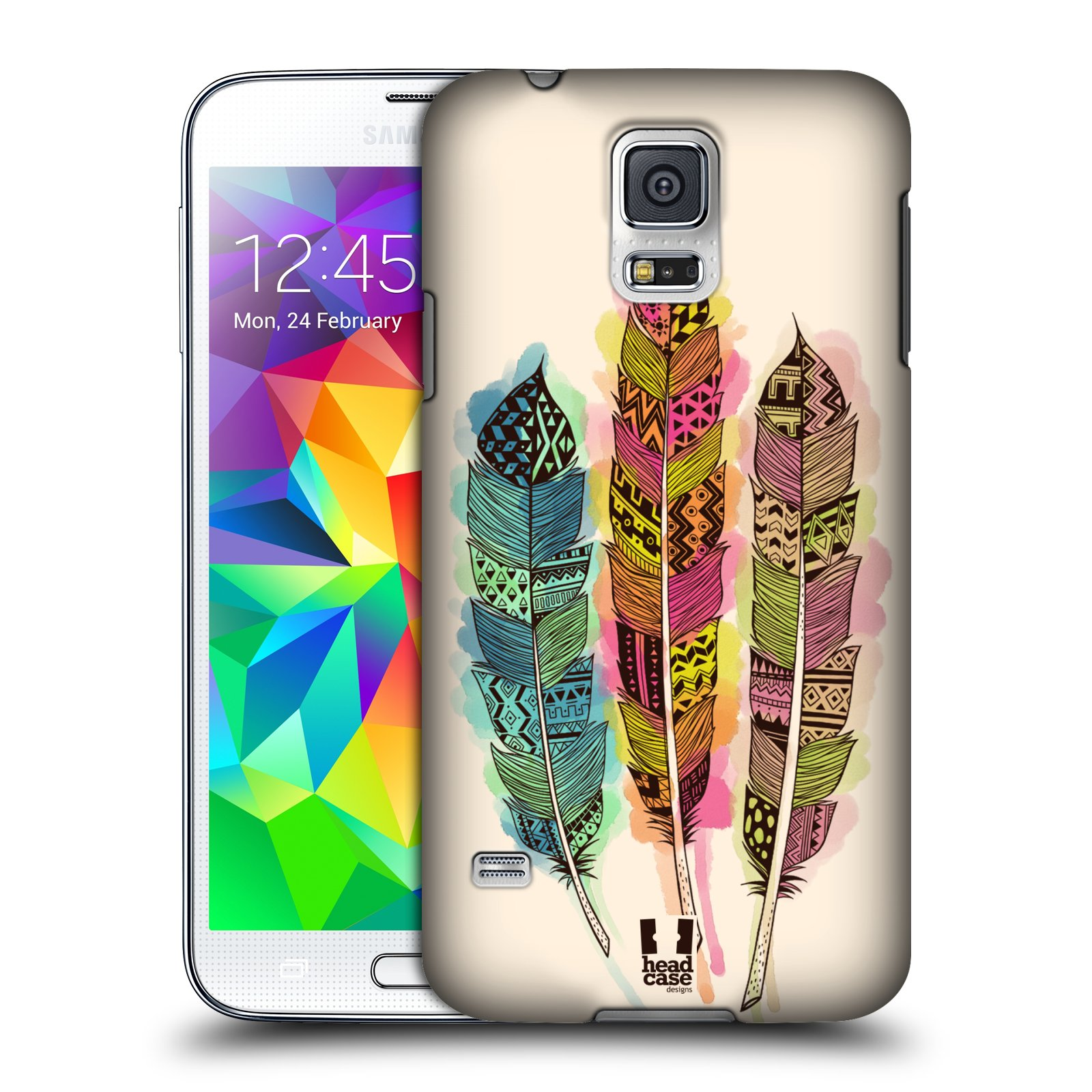 Plastové pouzdro na mobil Samsung Galaxy S5 HEAD CASE AZTEC PÍRKA SPLASH