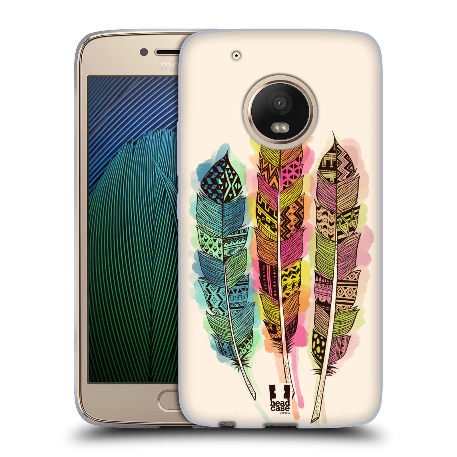 Silikonové pouzdro na mobil Lenovo Moto G5 Plus - Head Case AZTEC PÍRKA SPLASH