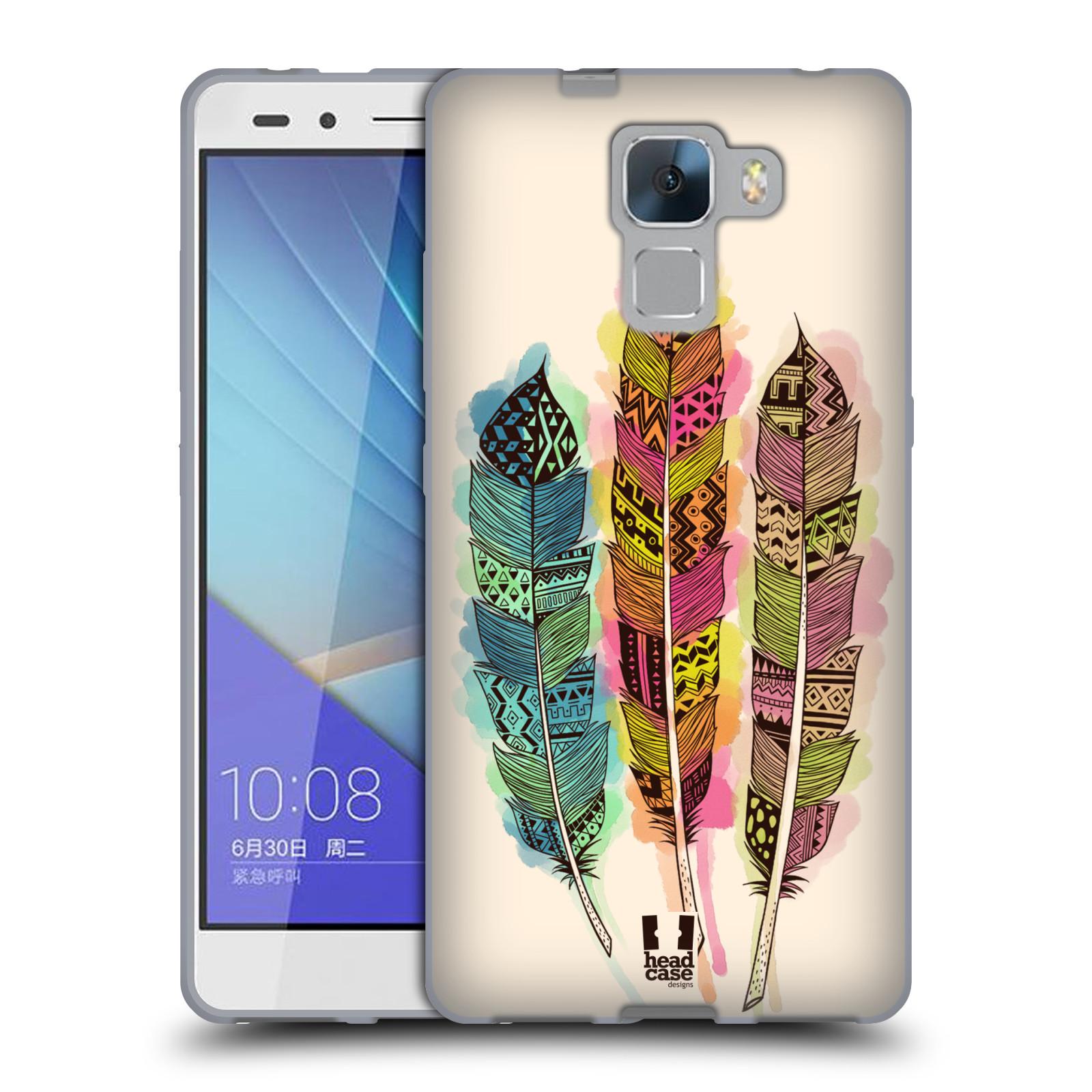 Silikonové pouzdro na mobil Honor 7 HEAD CASE AZTEC PÍRKA SPLASH