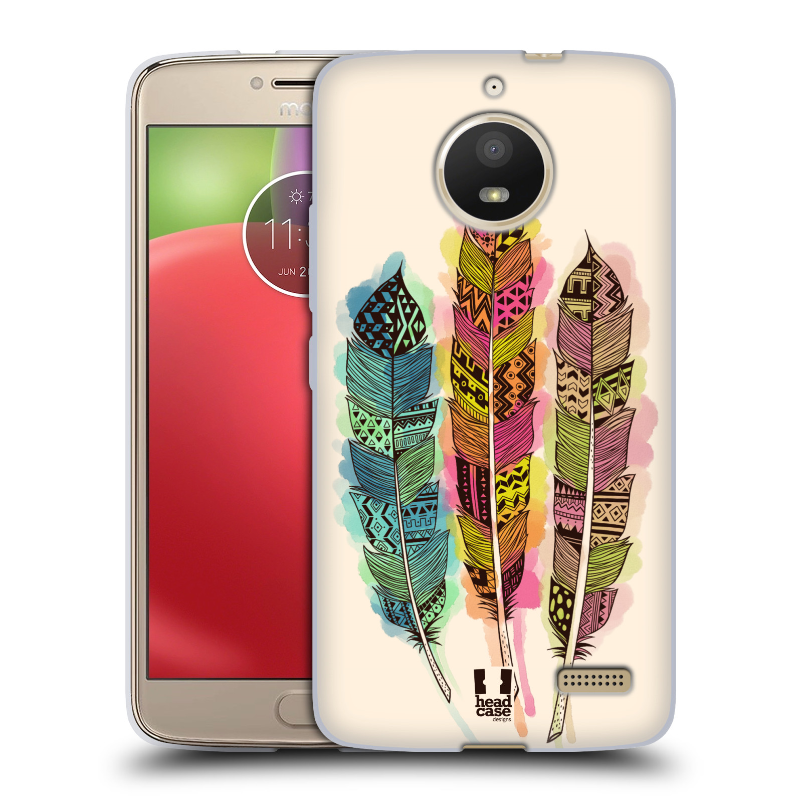Silikonové pouzdro na mobil Lenovo Moto E4 - Head Case - AZTEC PÍRKA SPLASH