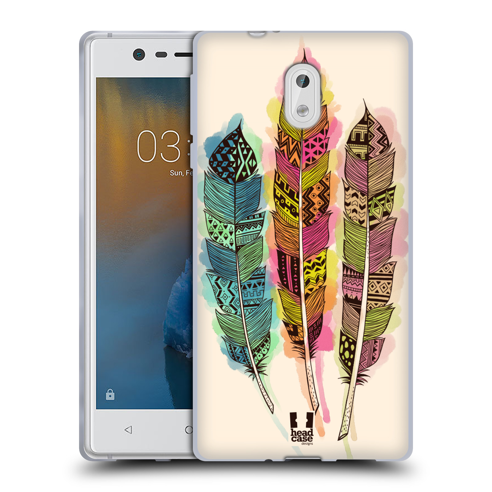 Silikonové pouzdro na mobil Nokia 3 Head Case - AZTEC PÍRKA SPLASH