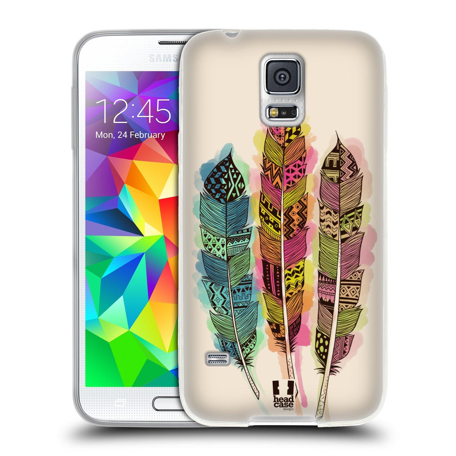 Silikonové pouzdro na mobil Samsung Galaxy S5 HEAD CASE AZTEC PÍRKA SPLASH