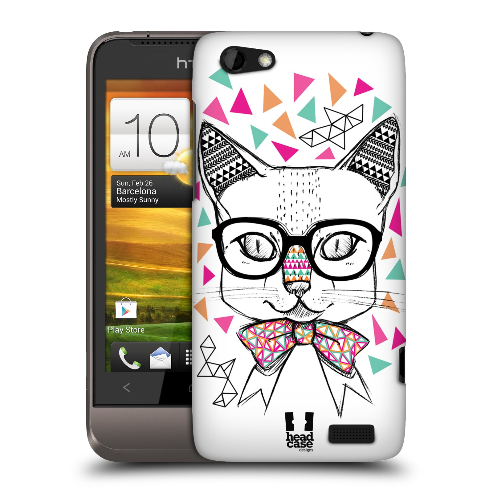 Plastové pouzdro na mobil HTC ONE V HEAD CASE AZTEC KOČIČKA (Kryt či obal na mobilní telefon HTC ONE V)