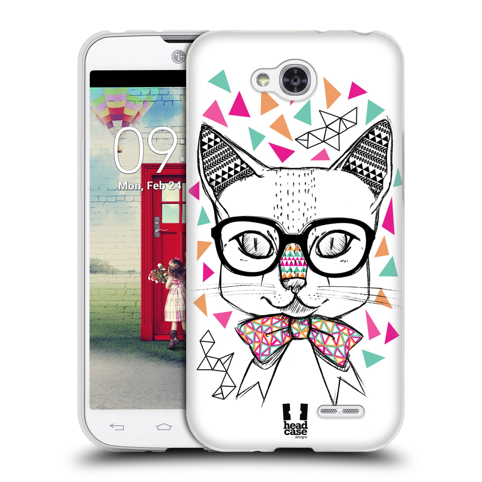 Silikonové pouzdro na mobil LG L90 HEAD CASE AZTEC KOČIČKA (Silikonový kryt či obal na mobilní telefon LG L90 D405n)