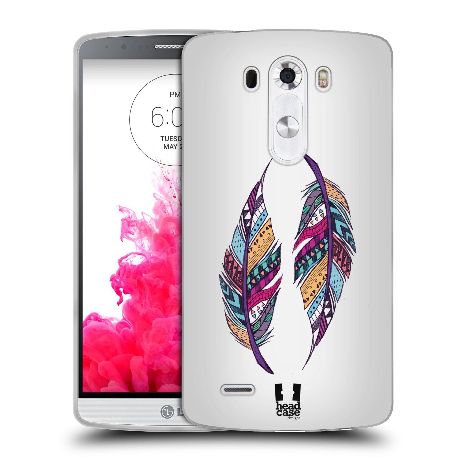 Silikonové pouzdro na mobil LG G3 HEAD CASE AZTEC PÍRKA (Silikonový kryt či obal na mobilní telefon LG G3 D855)