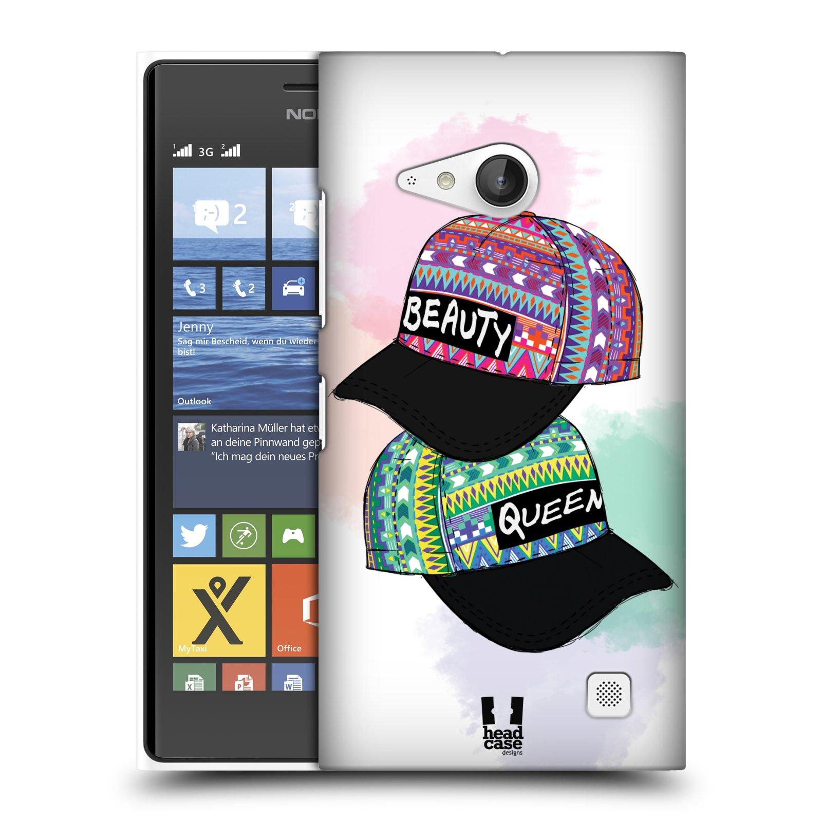 Plastové pouzdro na mobil Nokia Lumia 735 HEAD CASE AZTEC ČAPKY (Kryt či obal na mobilní telefon Nokia Lumia 735)