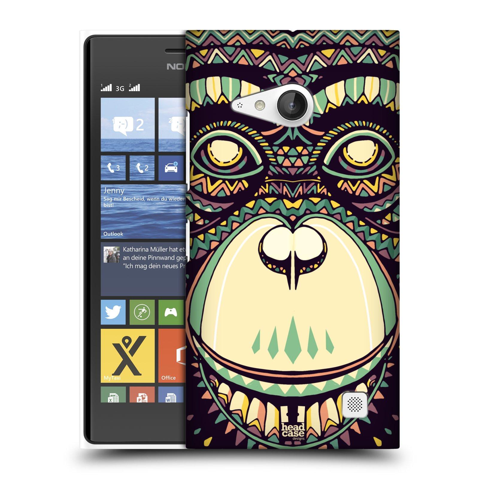 Plastové pouzdro na mobil Nokia Lumia 735 HEAD CASE AZTEC ŠIMPANZ (Kryt či obal na mobilní telefon Nokia Lumia 735)