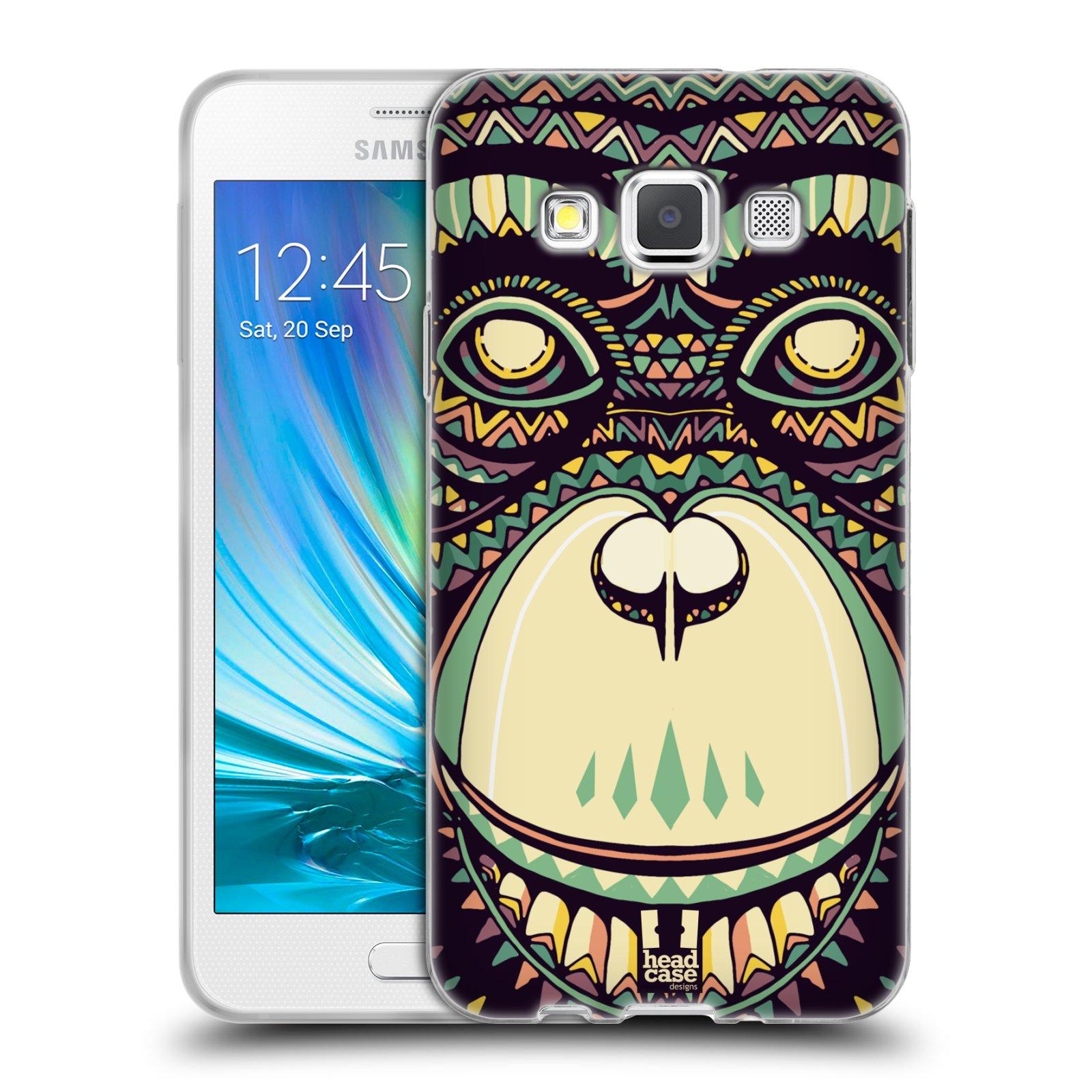 Silikonové pouzdro na mobil Samsung Galaxy A3 HEAD CASE AZTEC ŠIMPANZ (Silikonový kryt či obal na mobilní telefon Samsung Galaxy A3 SM-A300)