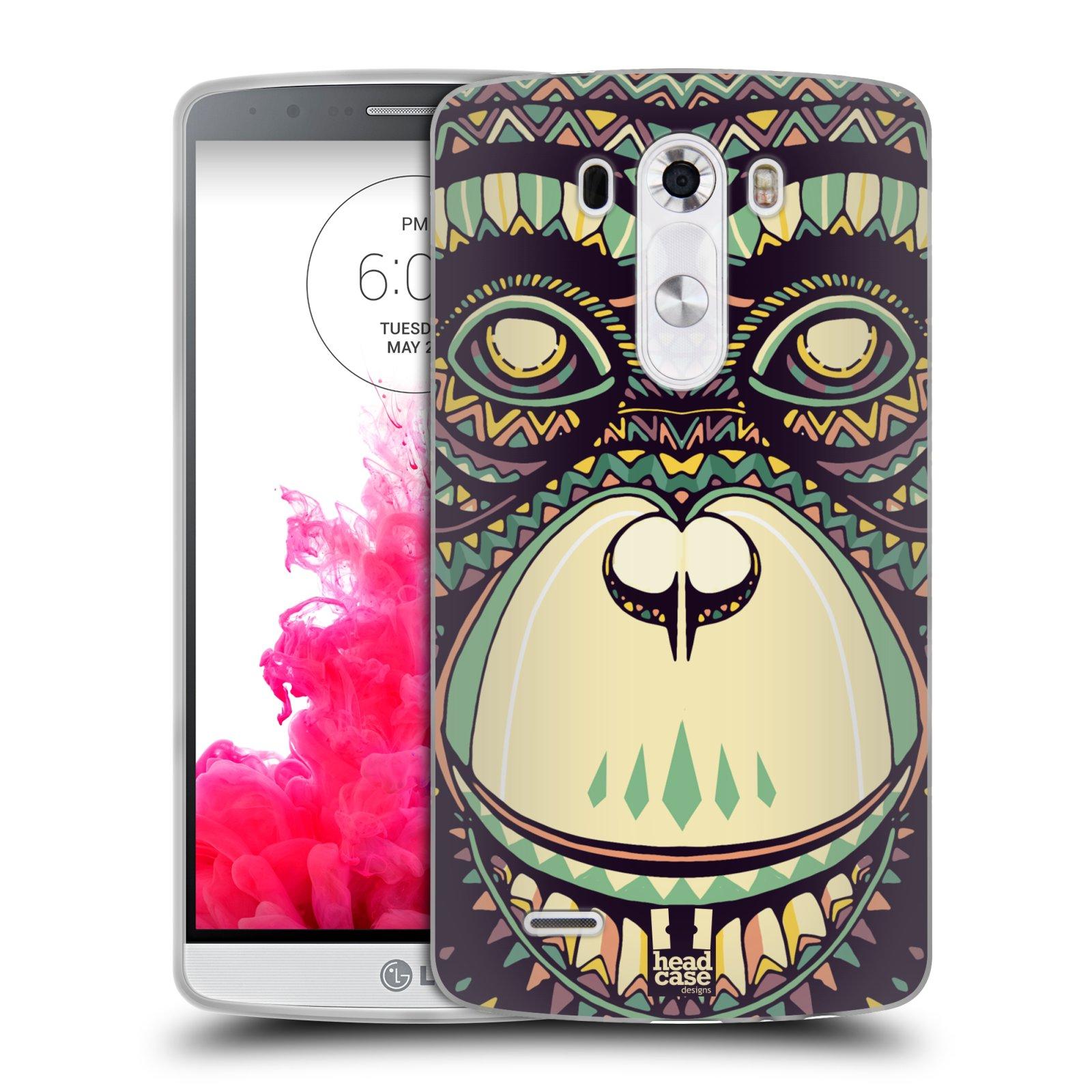 Silikonové pouzdro na mobil LG G3 HEAD CASE AZTEC ŠIMPANZ (Silikonový kryt či obal na mobilní telefon LG G3 D855)