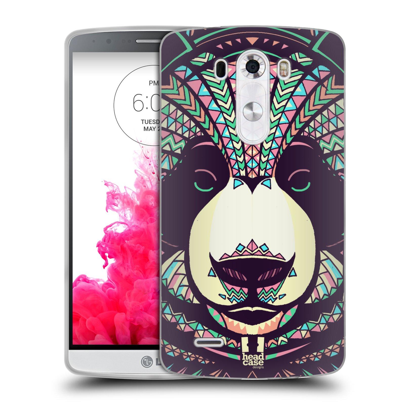 Silikonové pouzdro na mobil LG G3 HEAD CASE AZTEC PANDA (Silikonový kryt či obal na mobilní telefon LG G3 D855)