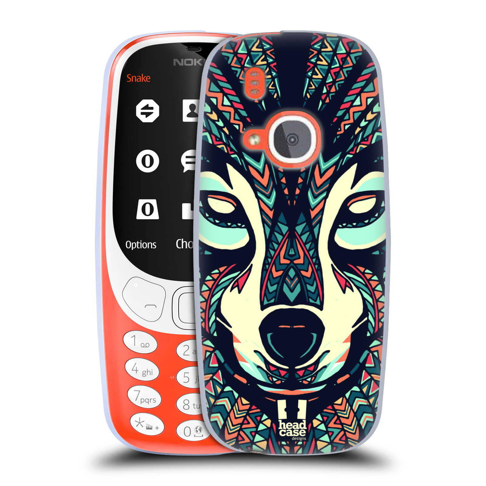 Silikonové pouzdro na mobil Nokia 3310 - Head Case - AZTEC VLK (Silikonový kryt či obal na mobilní telefon Nokia 3310 (2017) s motivem AZTEC VLK)