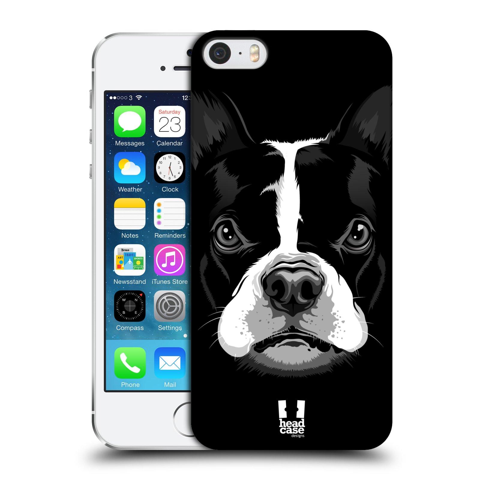 Plastové pouzdro na mobil Apple iPhone SE, 5 a 5S HEAD CASE ILUSTROVANÝ BULDOČEK
