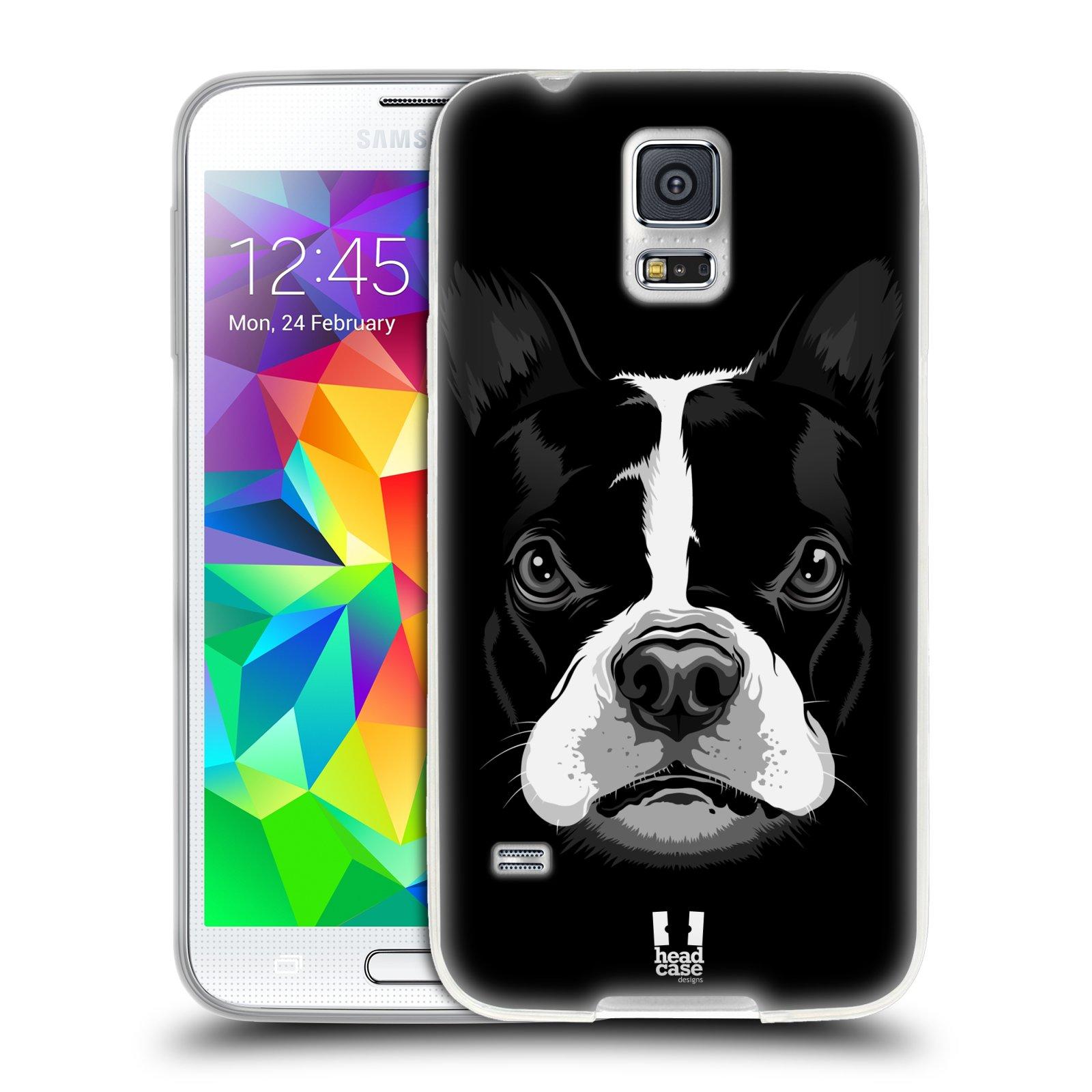 Silikonové pouzdro na mobil Samsung Galaxy S5 HEAD CASE ILUSTROVANÝ BULDOČEK