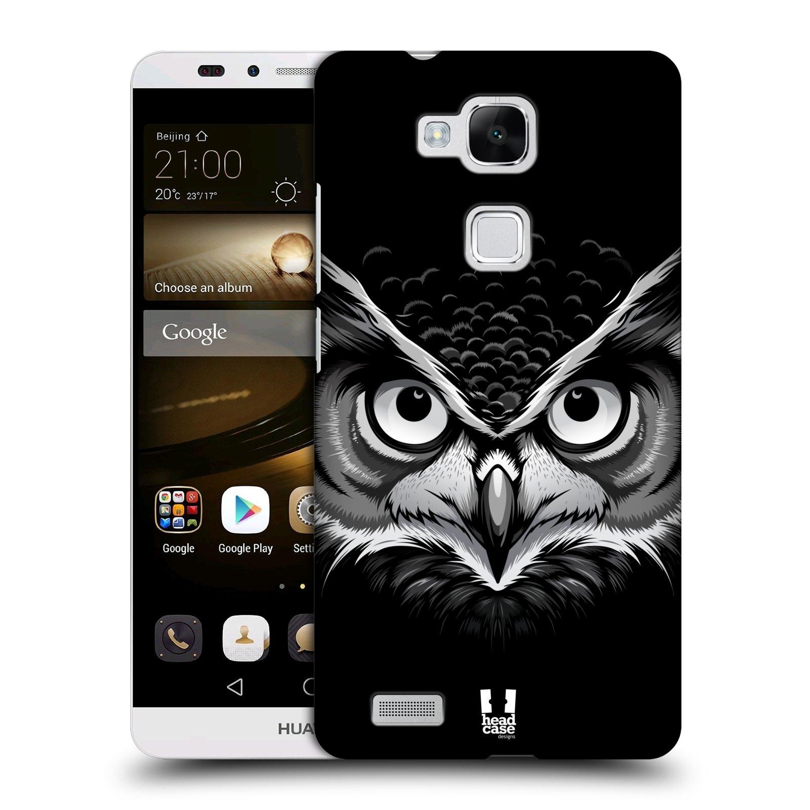 Plastové pouzdro na mobil Huawei Ascend Mate 7 HEAD CASE ILUSTROVANÁ SOVA (Kryt či obal na mobilní telefon Huawei Ascend Mate7)