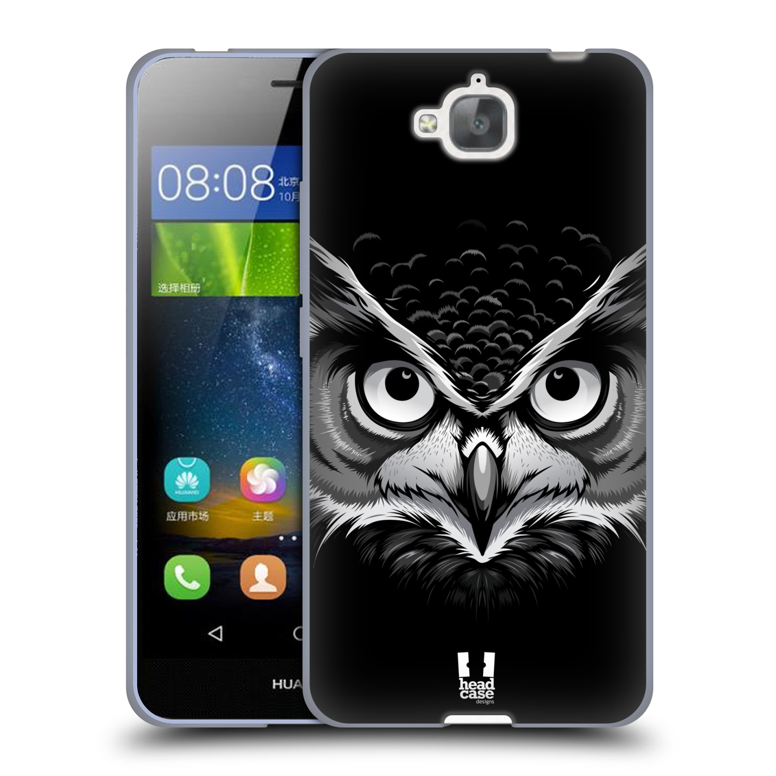 Silikonové pouzdro na mobil Huawei Y6 Pro Dual Sim HEAD CASE ILUSTROVANÁ SOVA