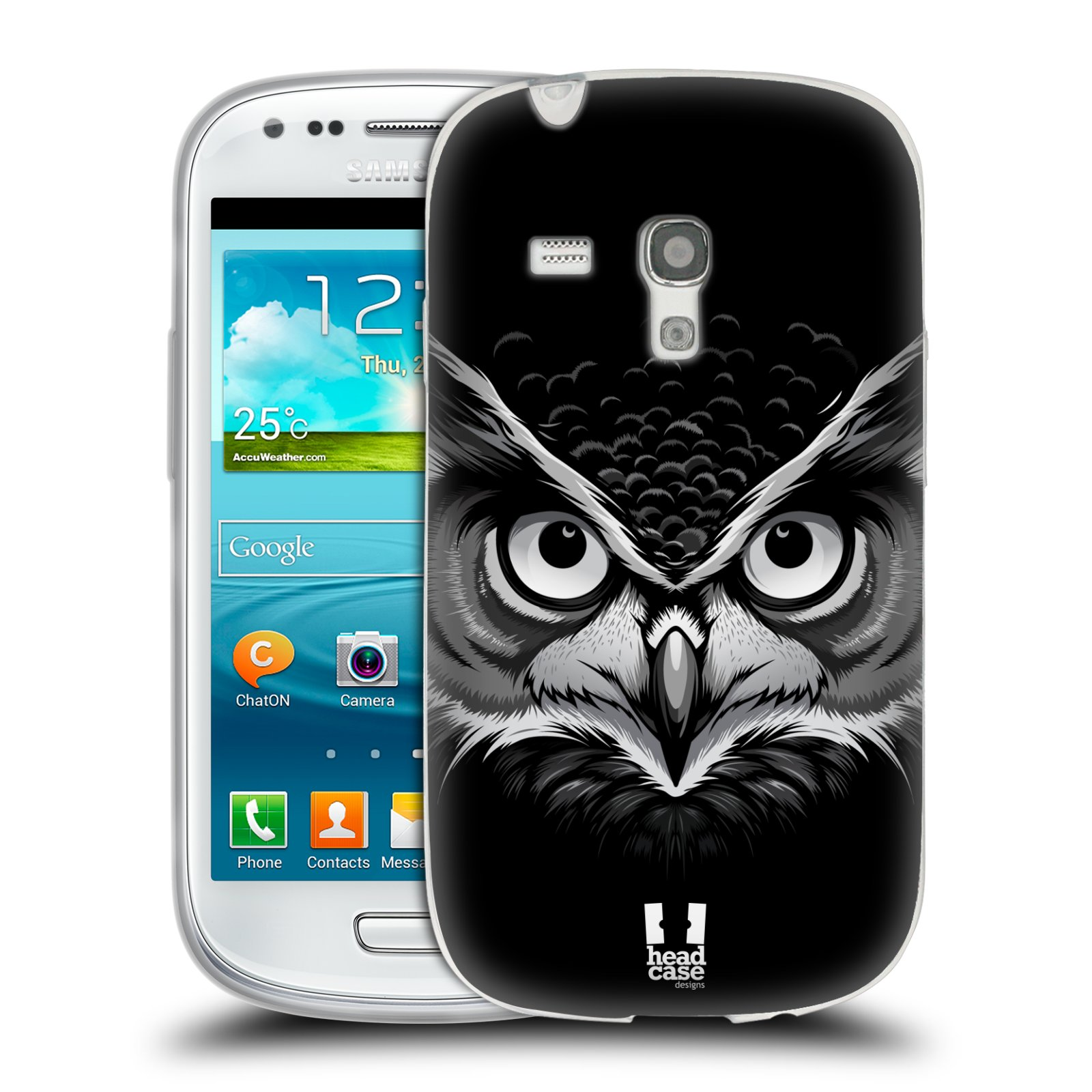 Silikonové pouzdro na mobil Samsung Galaxy S3 Mini VE HEAD CASE ILUSTROVANÁ SOVA (Silikonový kryt či obal na mobilní telefon Samsung Galaxy S3 Mini VE GT-i8200)