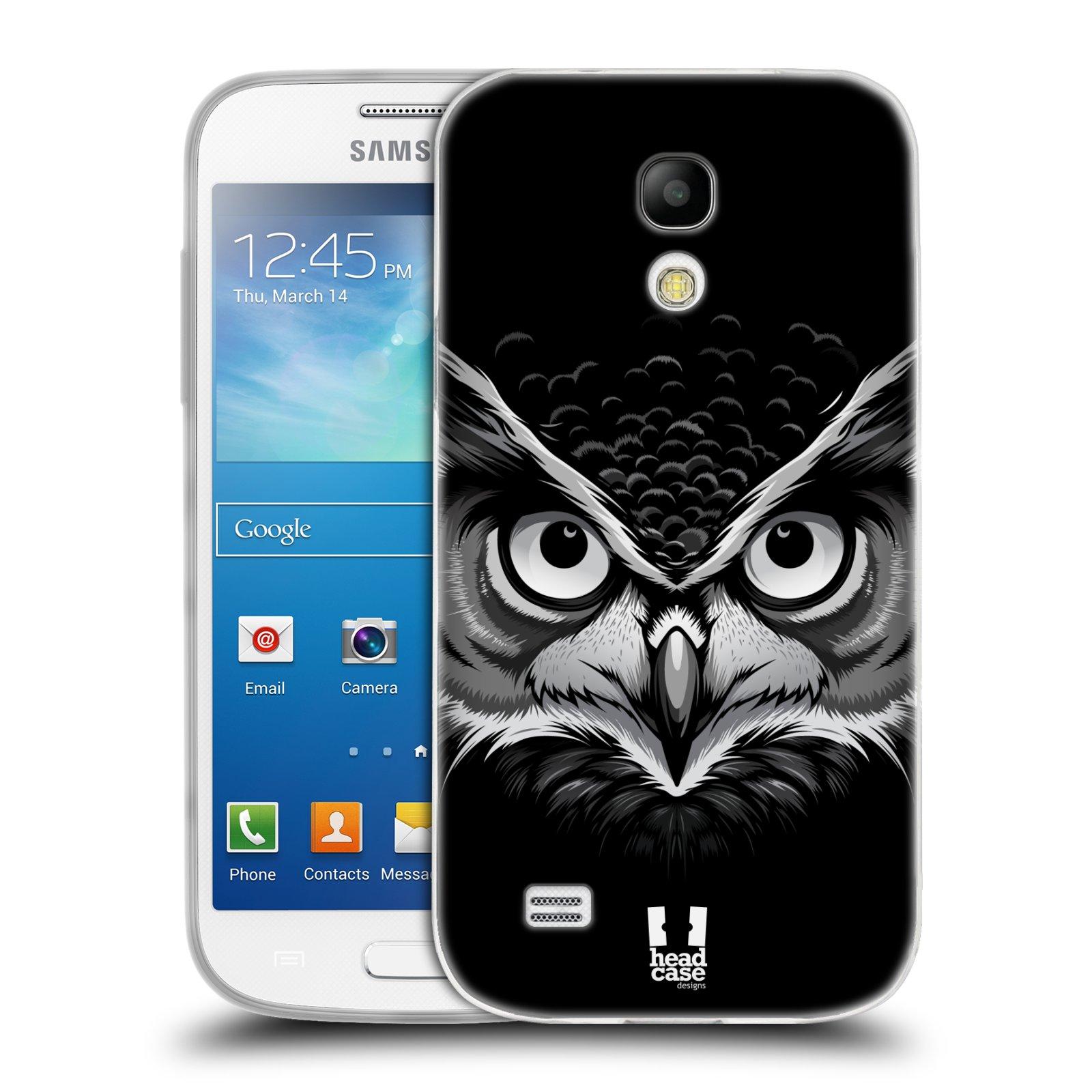 Silikonové pouzdro na mobil Samsung Galaxy S4 Mini HEAD CASE ILUSTROVANÁ SOVA