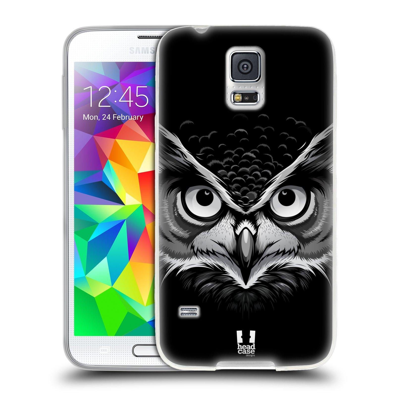 Silikonové pouzdro na mobil Samsung Galaxy S5 HEAD CASE ILUSTROVANÁ SOVA