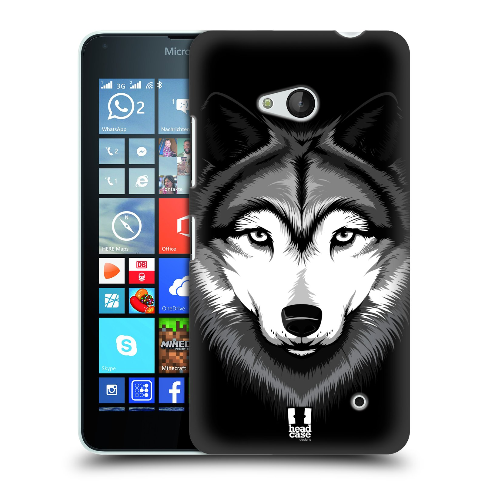 Plastové pouzdro na mobil Microsoft Lumia 640 HEAD CASE ILUSTROVANÝ VLK