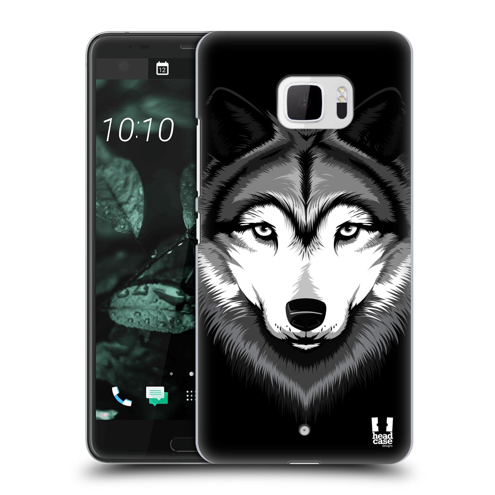 Plastové pouzdro na mobil HTC U Ultra Head Case - ILUSTROVANÝ VLK (Plastový kryt či obal na mobilní telefon HTC U Ultra (99HALT015-00))