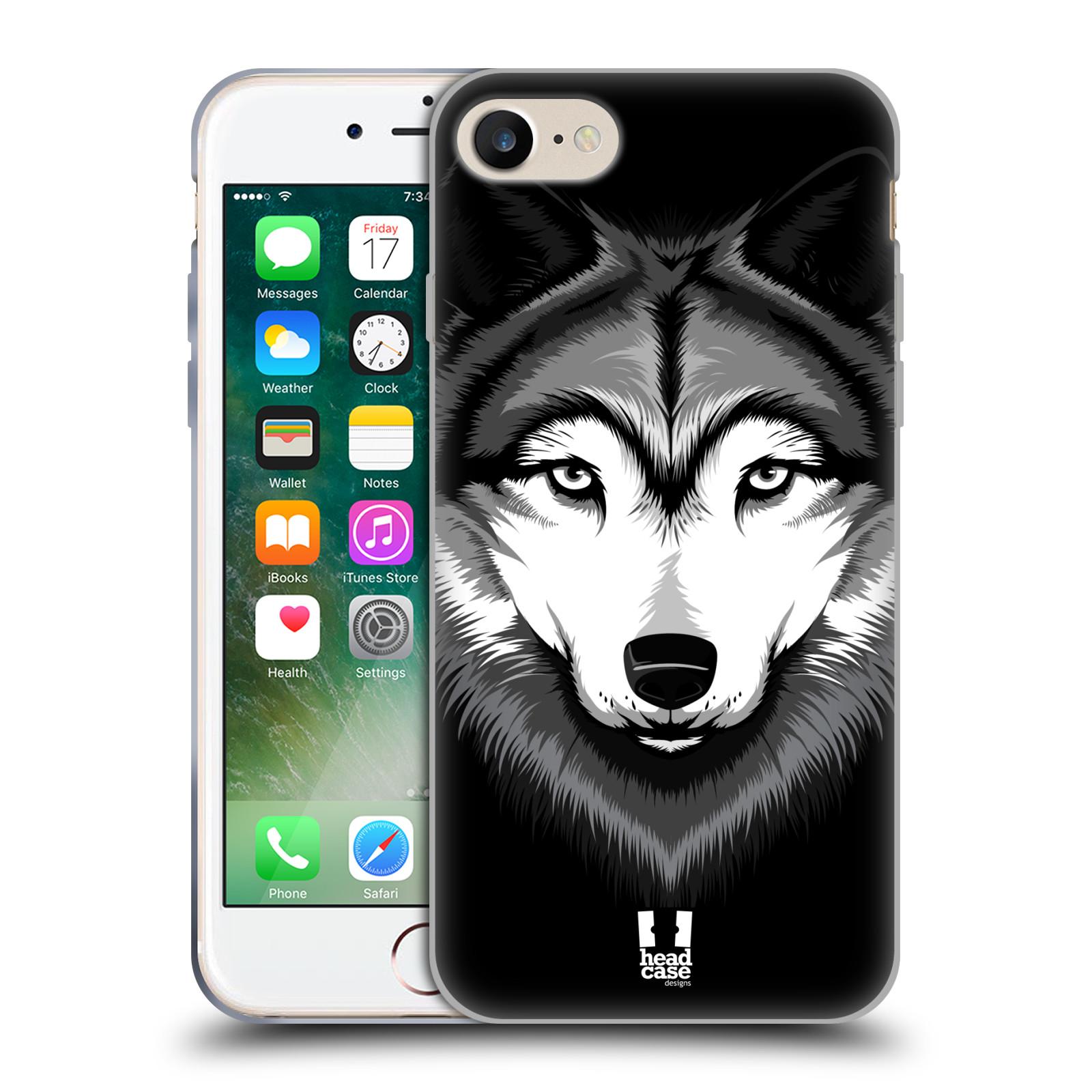 Silikonové pouzdro na mobil Apple iPhone 8 - Head Case - ILUSTROVANÝ VLK (Silikonový kryt či obal na mobilní telefon Apple iPhone 8 s motivem ILUSTROVANÝ VLK)