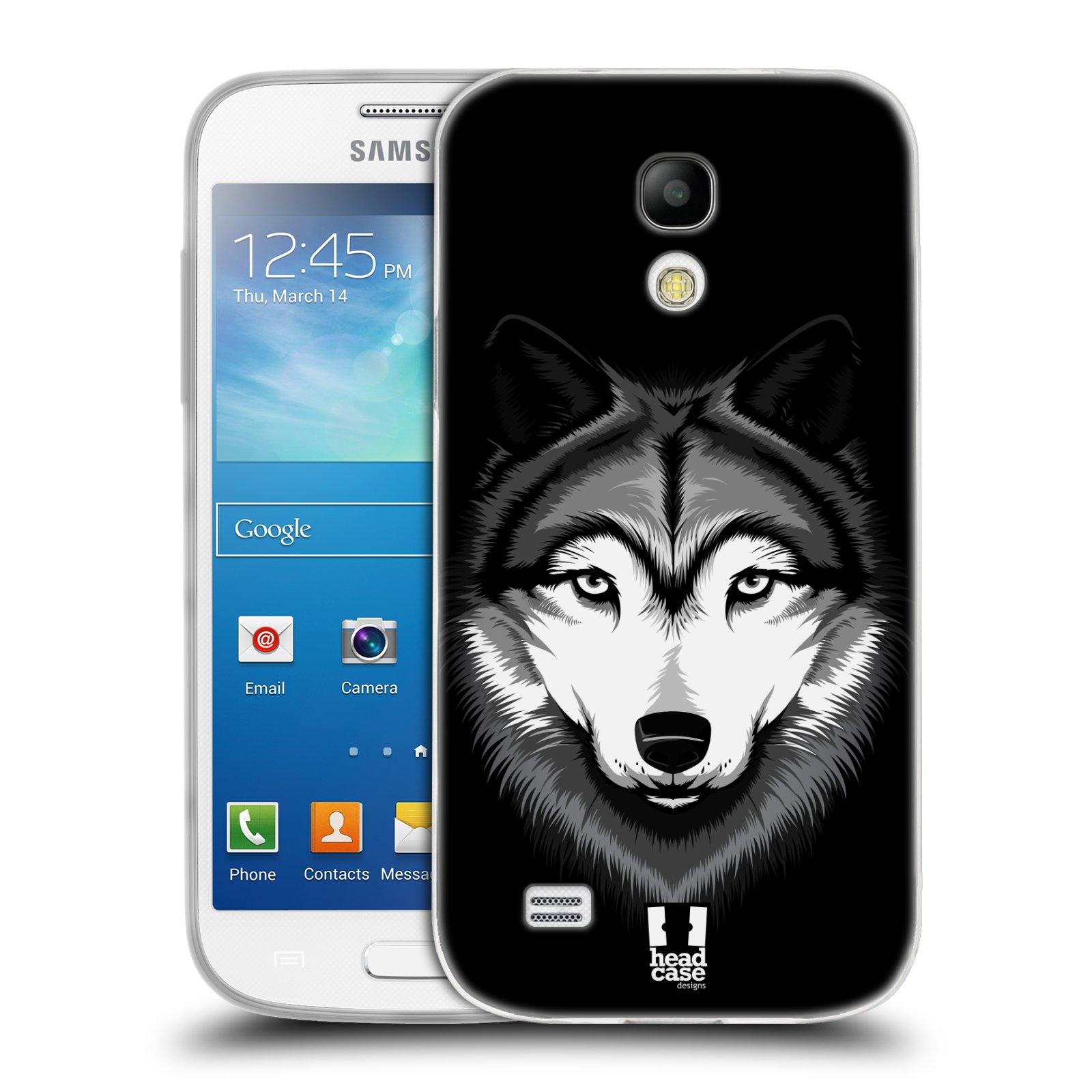 Silikonové pouzdro na mobil Samsung Galaxy S4 Mini HEAD CASE ILUSTROVANÝ VLK