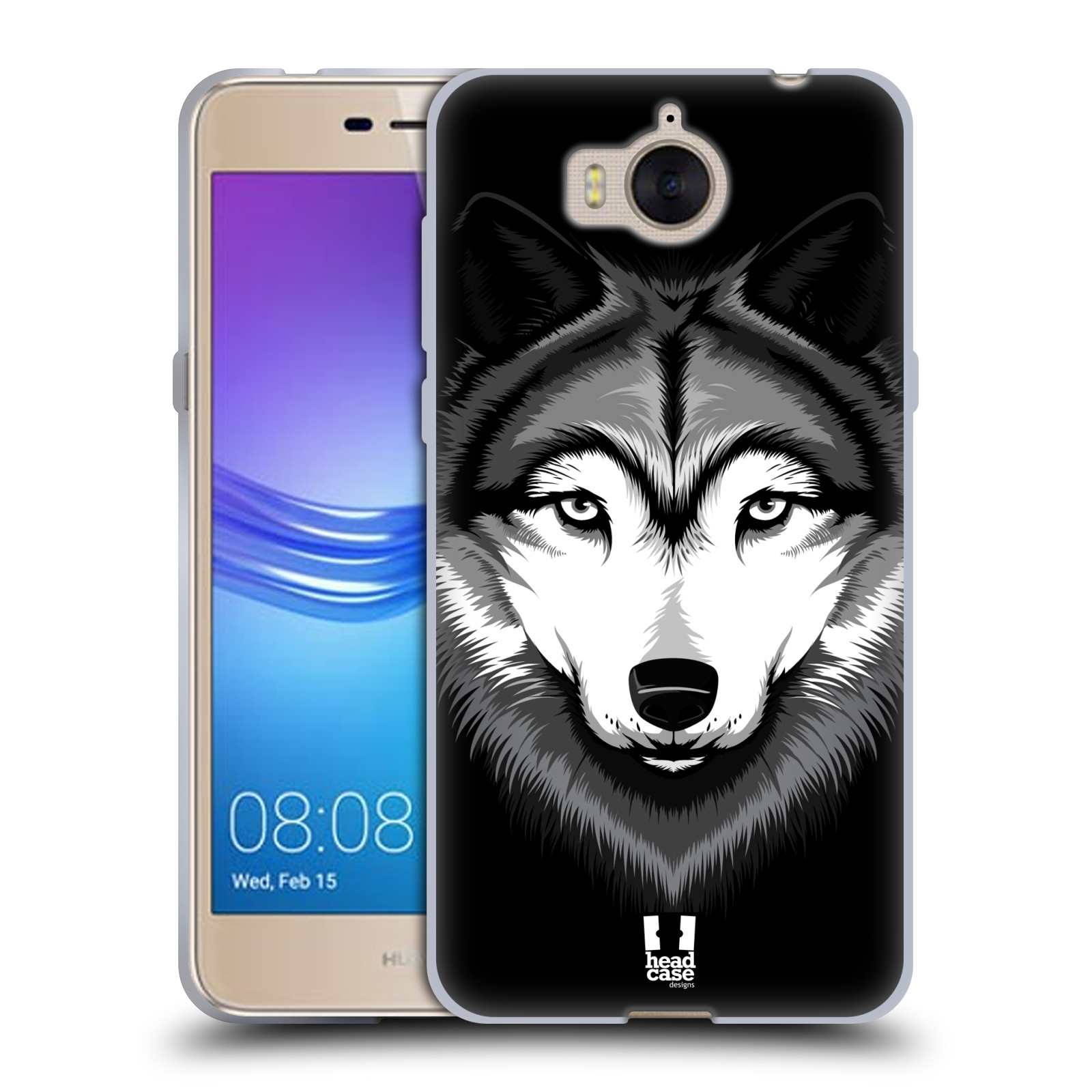 Silikonové pouzdro na mobil Huawei Y6 2017 - Head Case - ILUSTROVANÝ VLK (Silikonový kryt či obal na mobilní telefon Huawei Y6 (2017) s motivem ILUSTROVANÝ VLK)