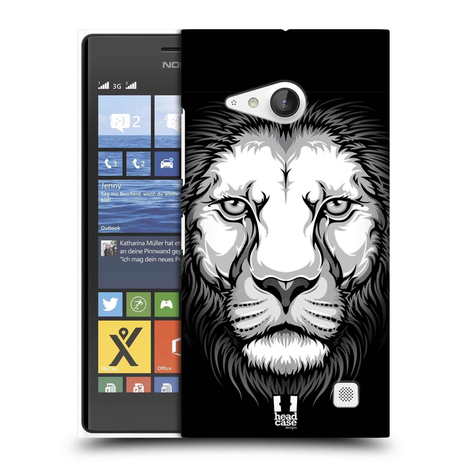 Plastové pouzdro na mobil Nokia Lumia 735 HEAD CASE ILUSTROVANÝ LEV