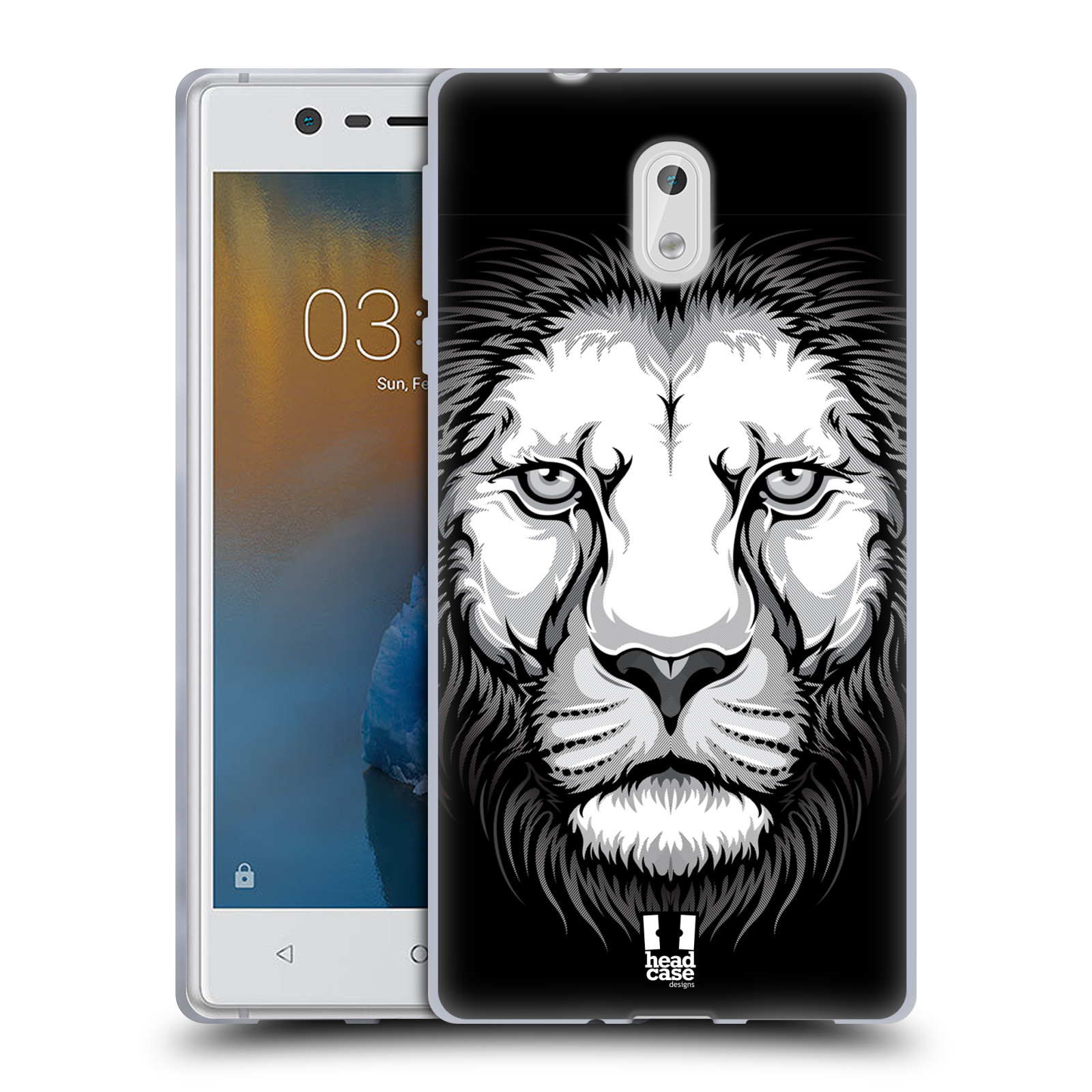 Silikonové pouzdro na mobil Nokia 3 Head Case - ILUSTROVANÝ LEV