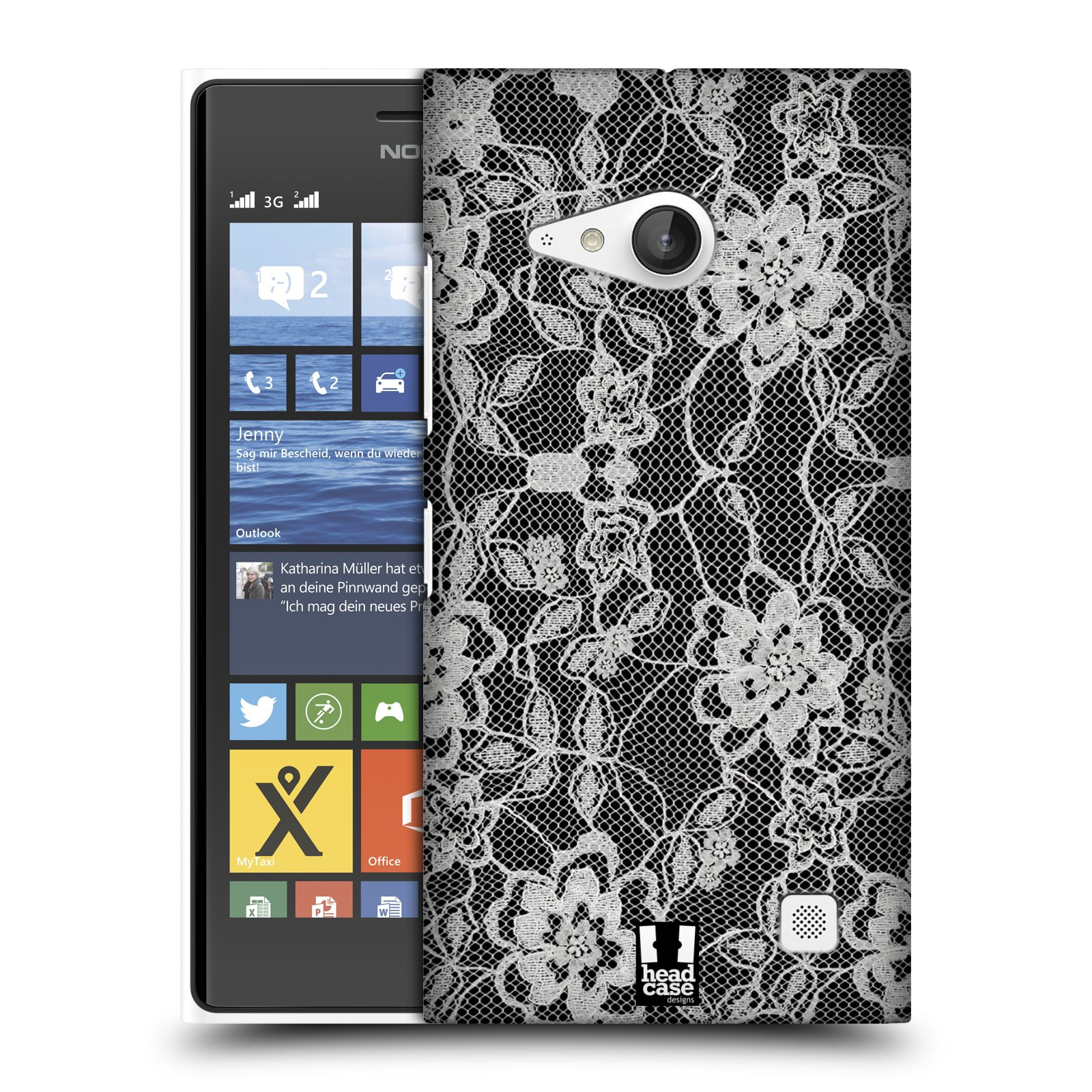 Plastové pouzdro na mobil Nokia Lumia 735 HEAD CASE FLOWERY KRAJKA