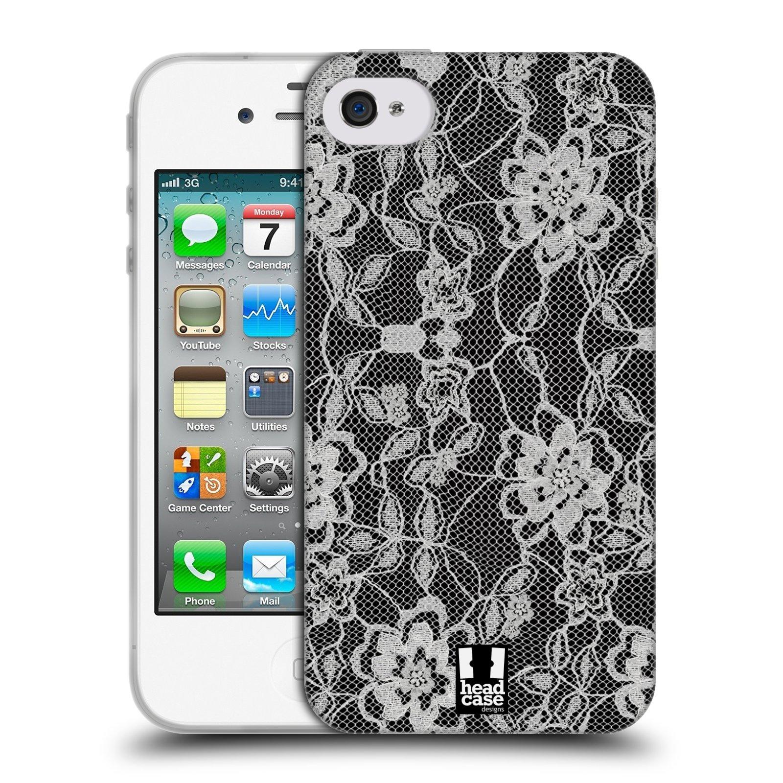 Silikonové pouzdro na mobil Apple iPhone 4 a 4S HEAD CASE FLOWERY KRAJKA (Silikonový kryt či obal na mobilní telefon Apple iPhone 4 a 4S)