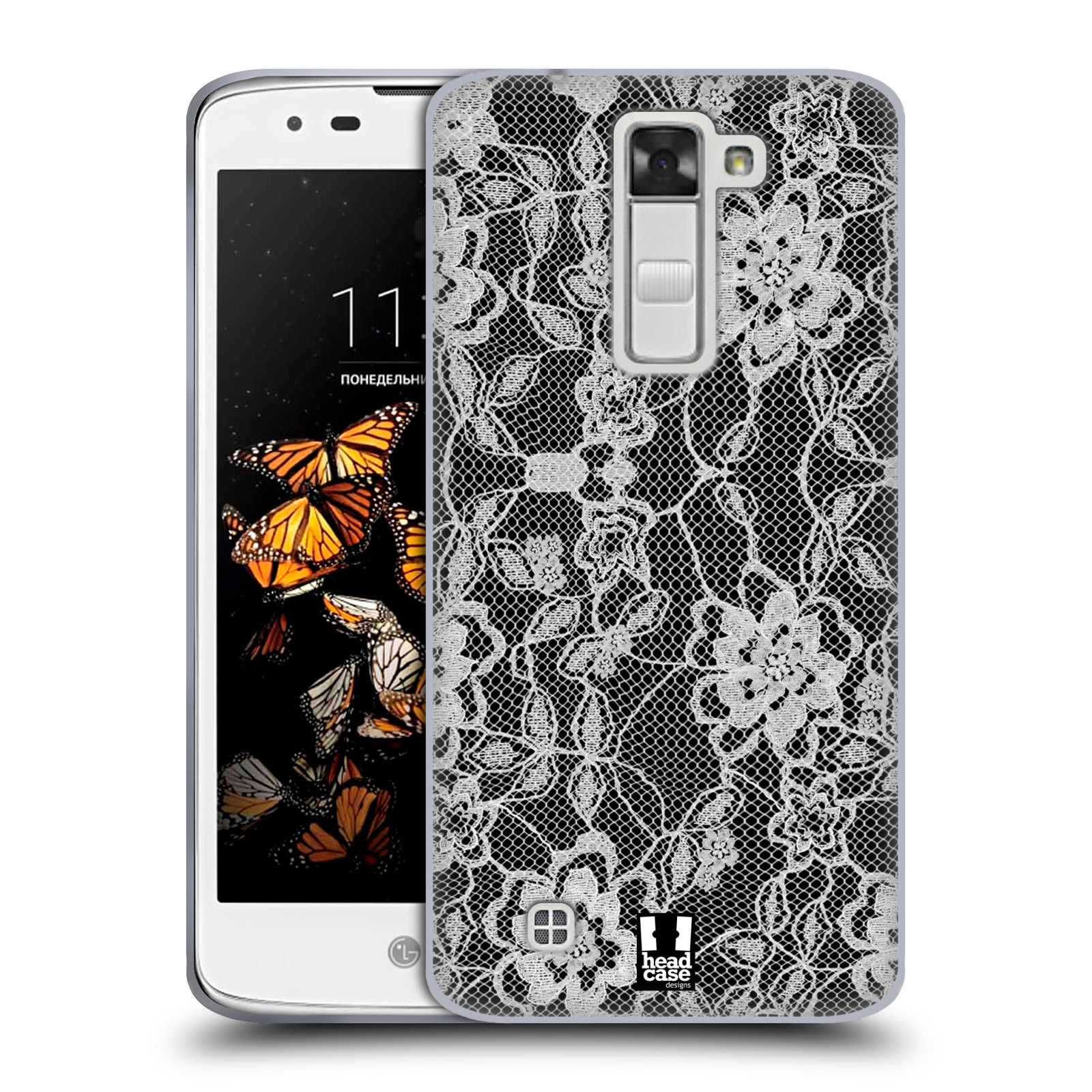 Silikonové pouzdro na mobil LG K8 HEAD CASE FLOWERY KRAJKA (Silikonový kryt či obal na mobilní telefon LG K8 K350)