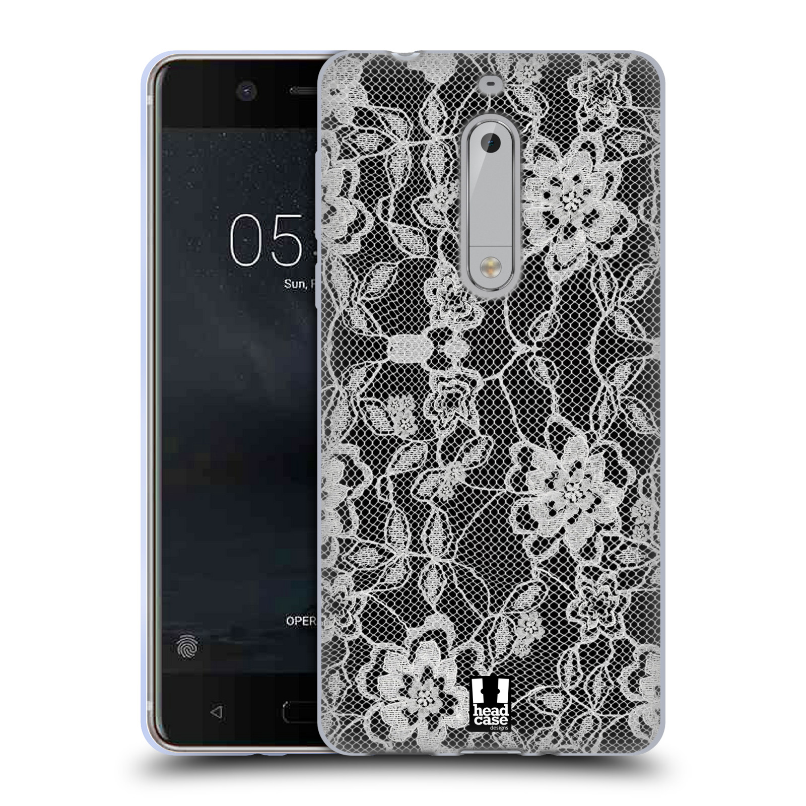 Silikonové pouzdro na mobil Nokia 5 Head Case - FLOWERY KRAJKA