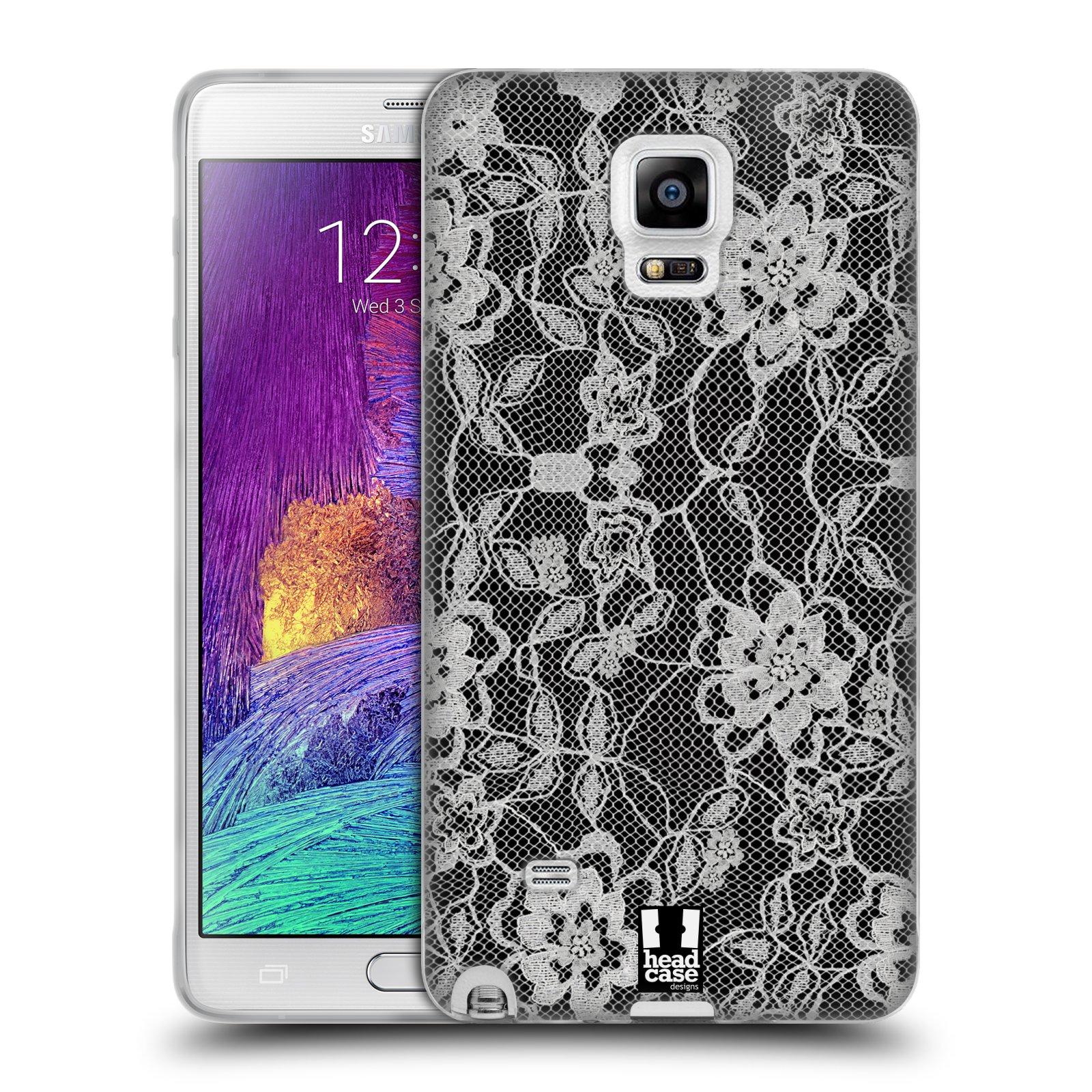 Silikonové pouzdro na mobil Samsung Galaxy Note 4 HEAD CASE FLOWERY KRAJKA (Silikonový kryt či obal na mobilní telefon Samsung Galaxy Note 4 SM-N910F)