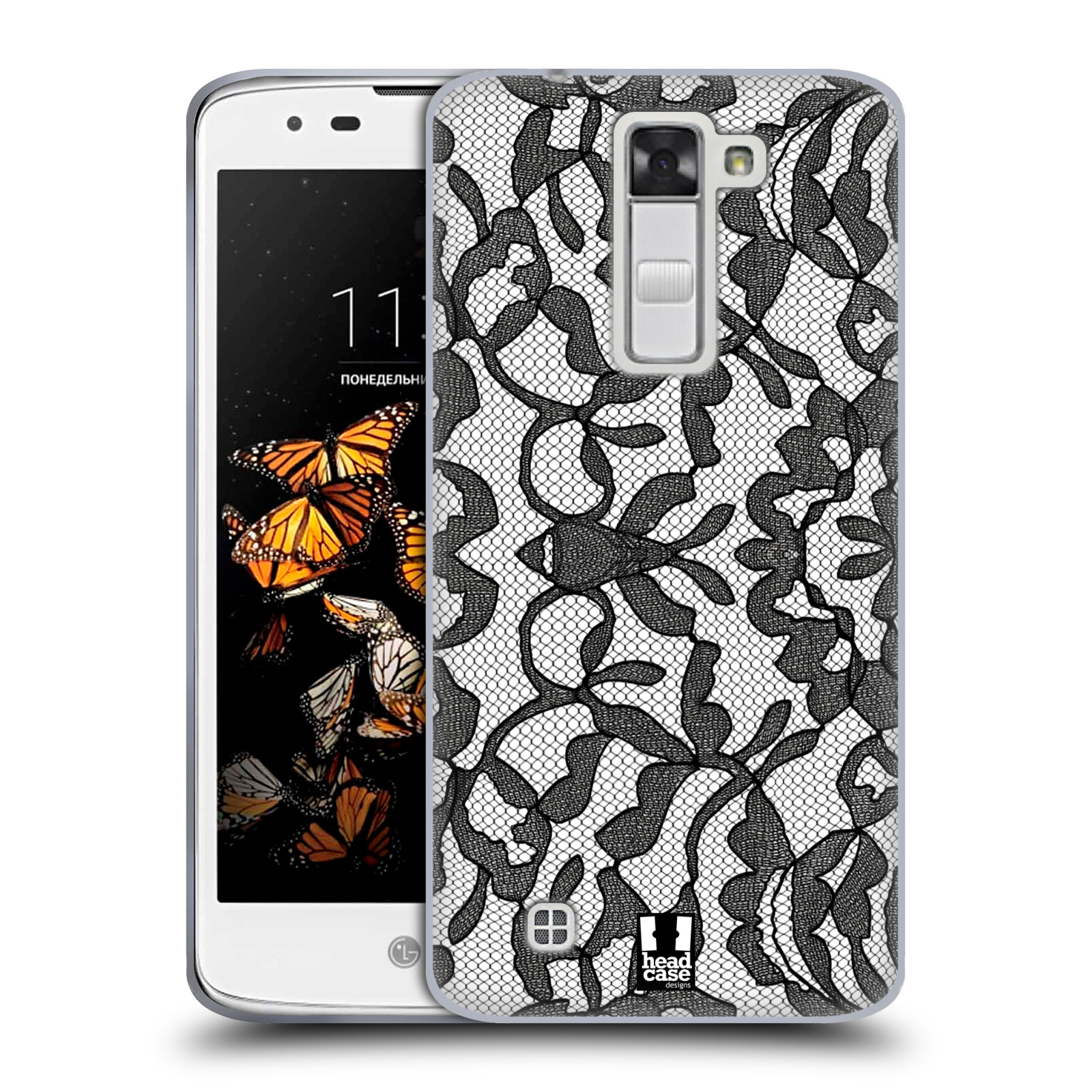 Silikonové pouzdro na mobil LG K8 HEAD CASE LEAFY KRAJKA (Silikonový kryt či obal na mobilní telefon LG K8 K350)