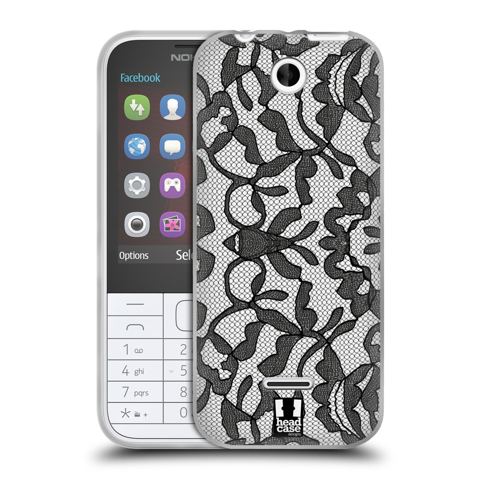 Silikonové pouzdro na mobil Nokia 225 HEAD CASE LEAFY KRAJKA (Silikonový kryt či obal na mobilní telefon Nokia 225)