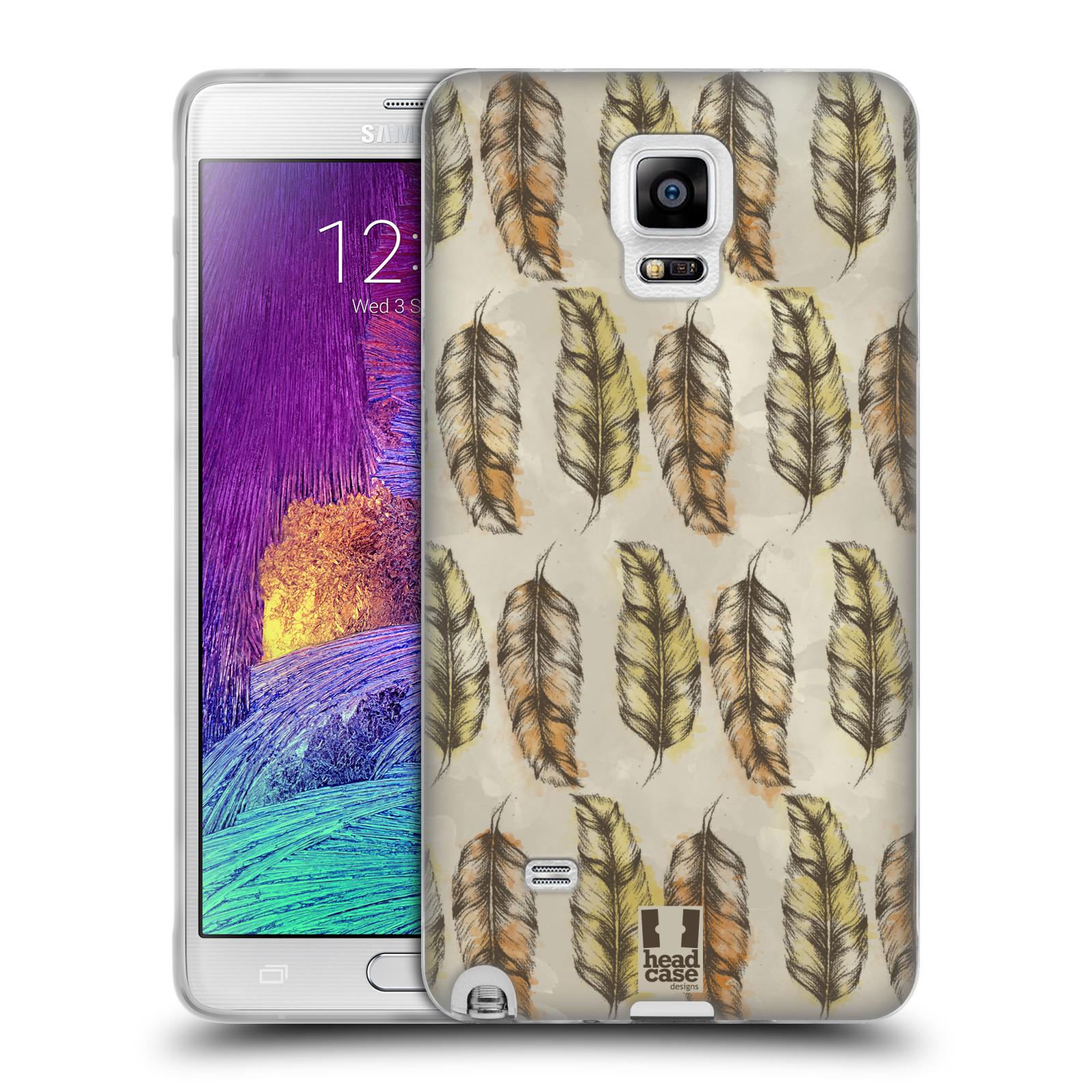 Silikonové pouzdro na mobil Samsung Galaxy Note 4 - Head Case - Bohémská pírka (Silikonový kryt či obal na mobilní telefon s motivem Bohemian Soul pro Samsung Galaxy Note 4 SM-N910F)
