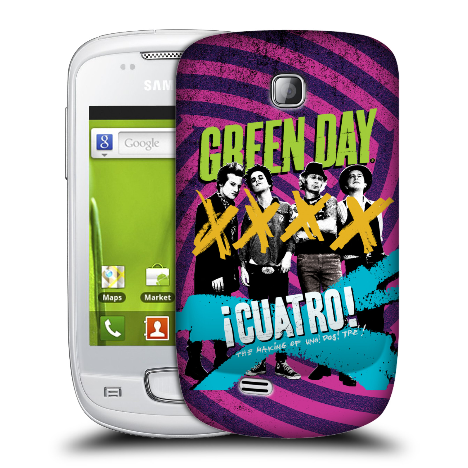 Plastové pouzdro na mobil Samsung Galaxy Mini HEAD CASE Green Day - Cuatro (Plastový kryt či obal na mobilní telefon licencovaným motivem Green Day pro Samsung Galaxy Mini GT-S5570 / GT-S5570i)