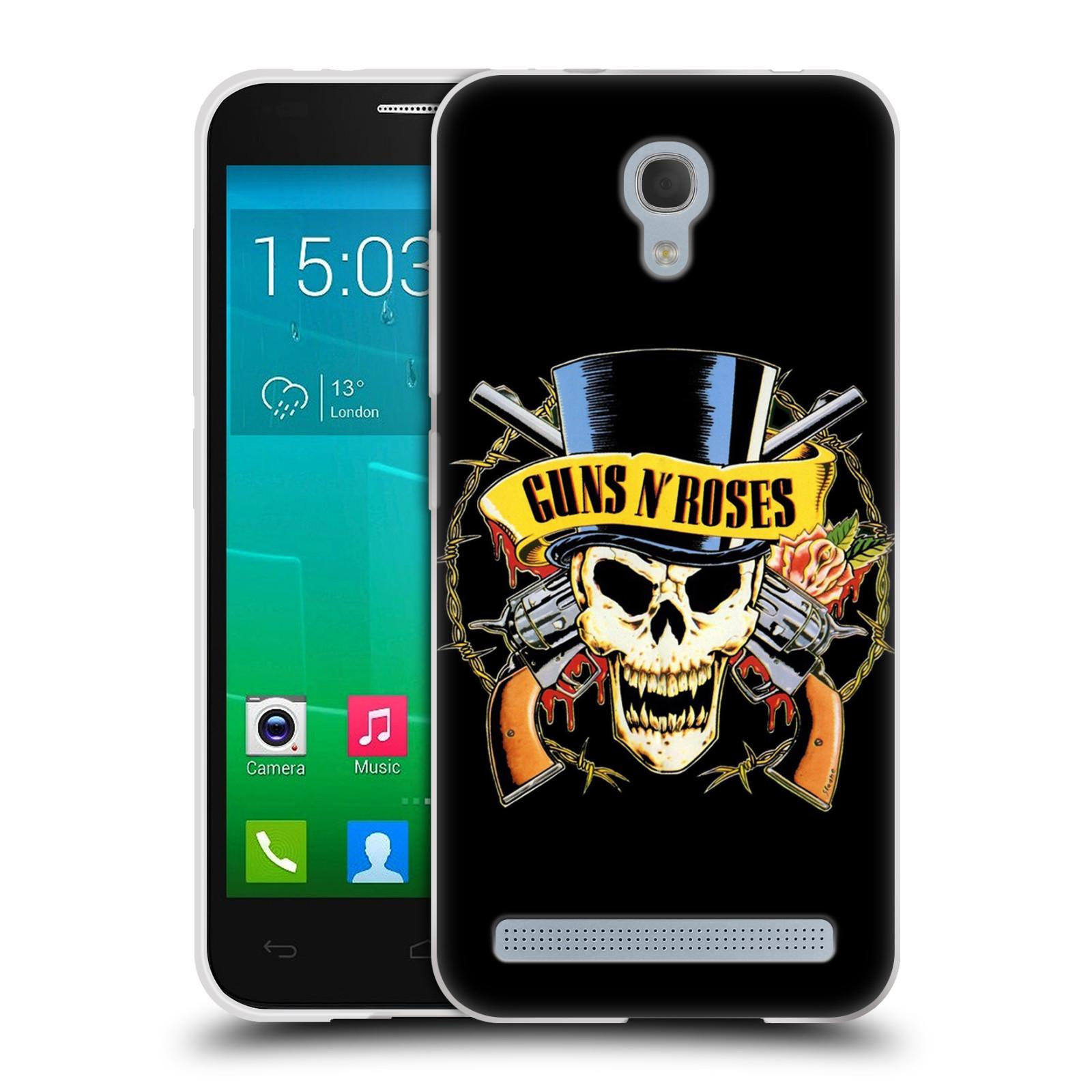 Silikonové pouzdro na mobil Alcatel One Touch Idol 2 Mini S 6036Y HEAD CASE Guns N' Roses - Lebka (Silikonový kryt či obal na mobilní telefon licencovaným motivem Guns N' Roses pro Alcatel Idol 2 Mini S OT-6036Y)