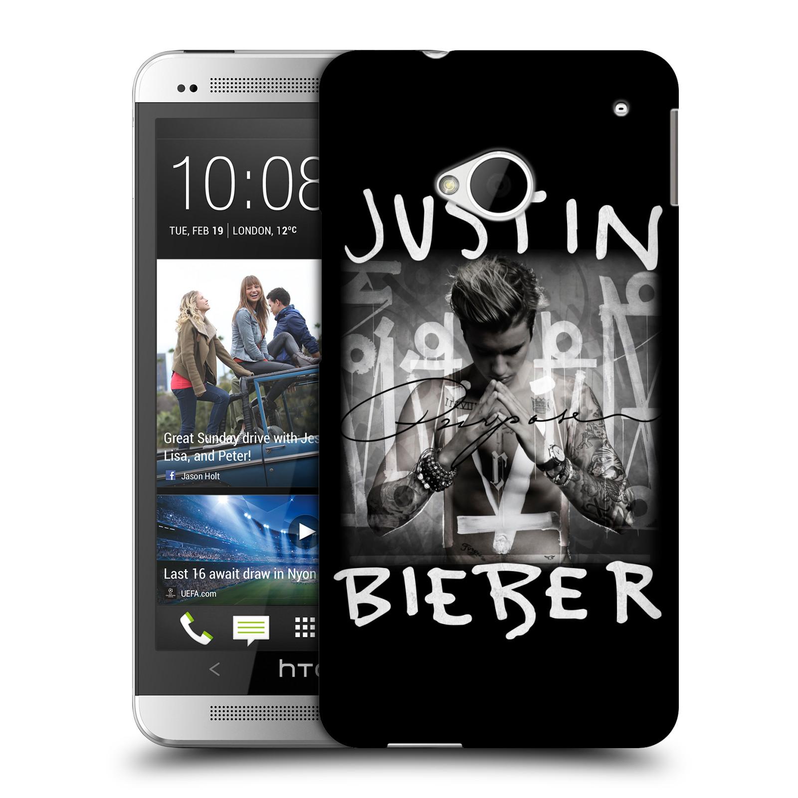 Plastové pouzdro na mobil HTC ONE M7 HEAD CASE Justin Bieber Official - Purpose (Kryt či obal na mobilní telefon s licencovaným motivem Justin Bieber pro HTC ONE M7)