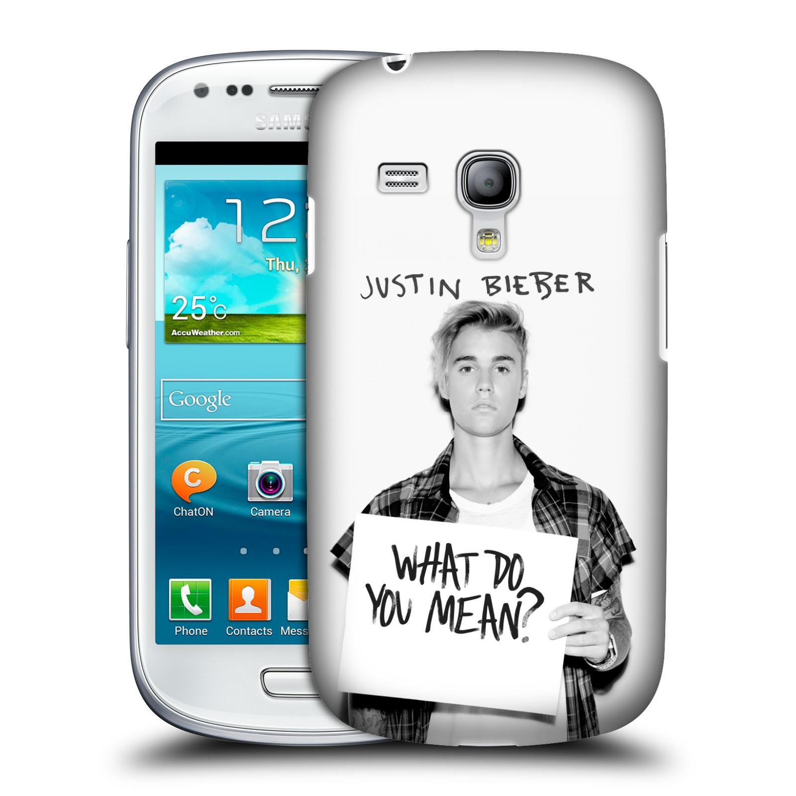 Plastové pouzdro na mobil Samsung Galaxy S III Mini VE HEAD CASE Justin Bieber Official - What do you mean ? (Kryt či obal na mobilní telefon s licencovaným motivem Justin Bieber pro Samsung Galaxy S3 Mini VE GT-i8200)