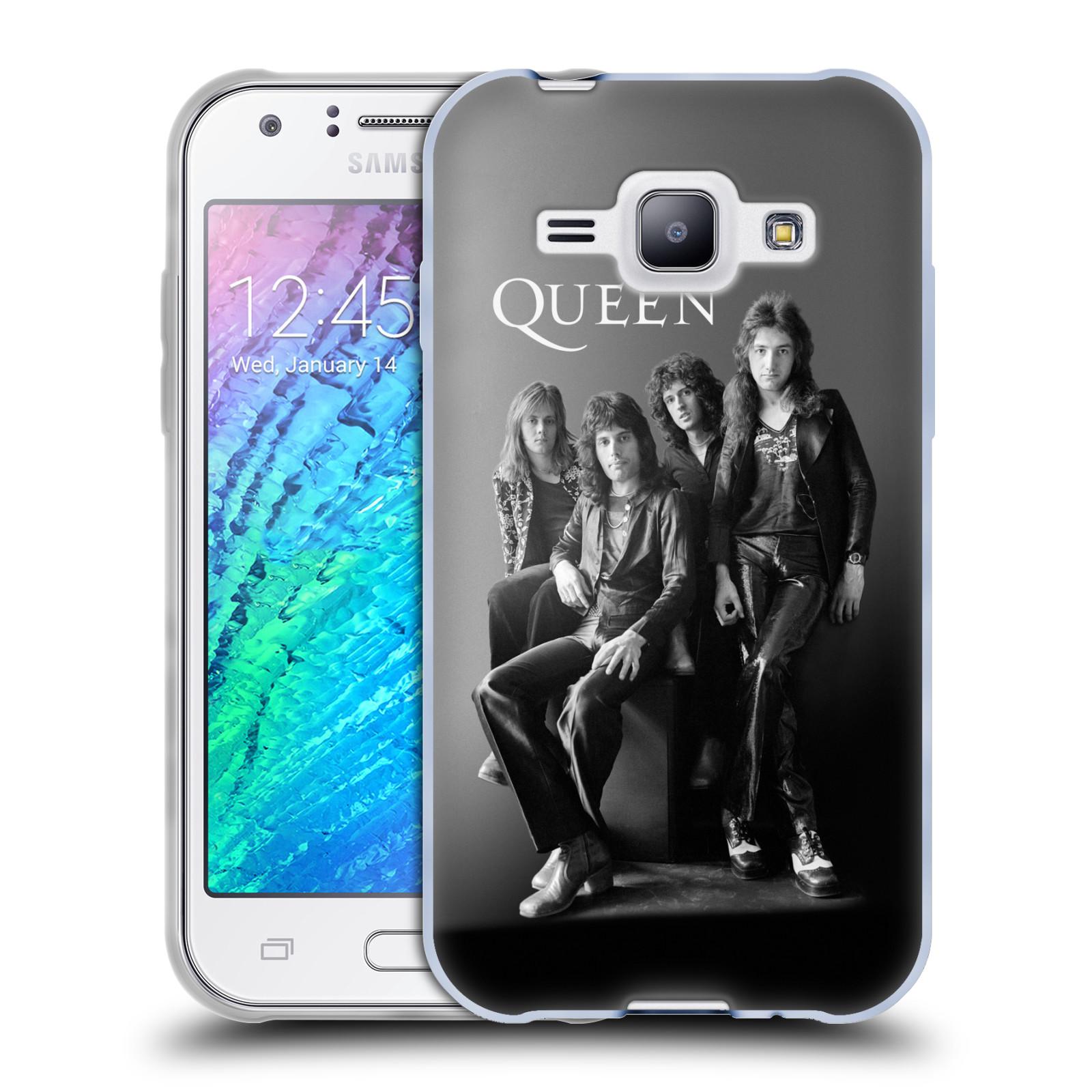 Silikonové pouzdro na mobil Samsung Galaxy J1 HEAD CASE Queen - Skupina (Silikonový kryt či obal na mobilní telefon licencovaným motivem Queen pro Samsung Galaxy J1 a J1 Duos)