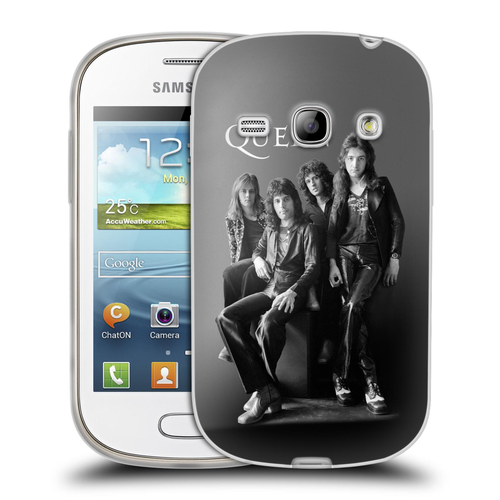 Silikonové pouzdro na mobil Samsung Galaxy Fame HEAD CASE Queen - Skupina (Silikonový kryt či obal na mobilní telefon licencovaným motivem Queen pro Samsung Galaxy Fame GT-S6810)