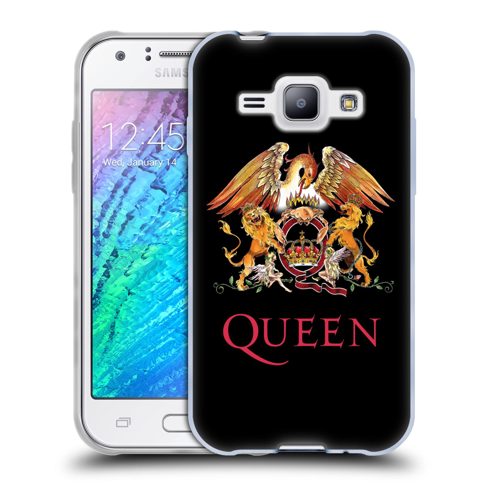 Silikonové pouzdro na mobil Samsung Galaxy J1 HEAD CASE Queen - Logo (Silikonový kryt či obal na mobilní telefon licencovaným motivem Queen pro Samsung Galaxy J1 a J1 Duos)