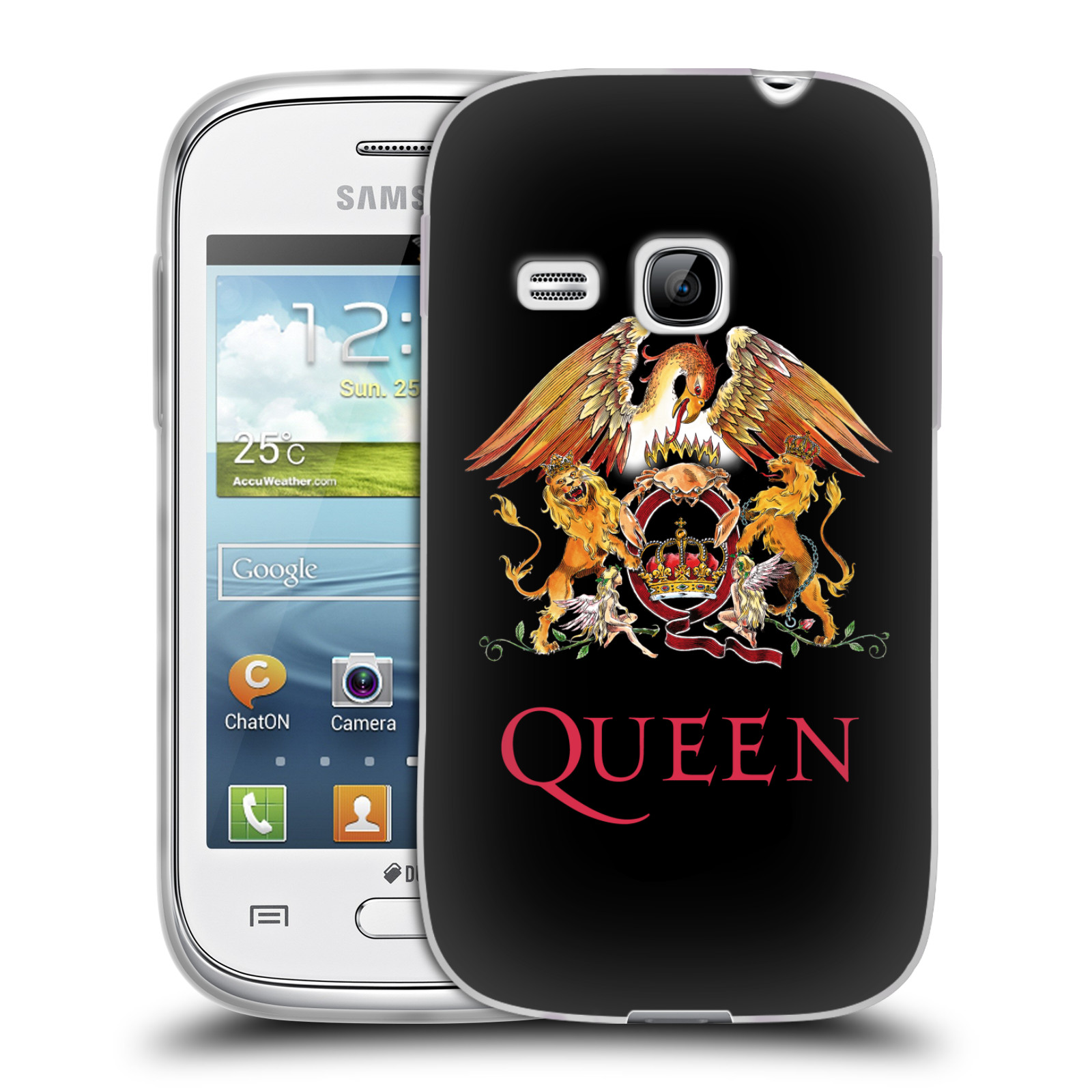 Silikonové pouzdro na mobil Samsung Galaxy Young HEAD CASE Queen - Logo (Silikonový kryt či obal na mobilní telefon licencovaným motivem Queen pro Samsung Galaxy Young GT-S6310)