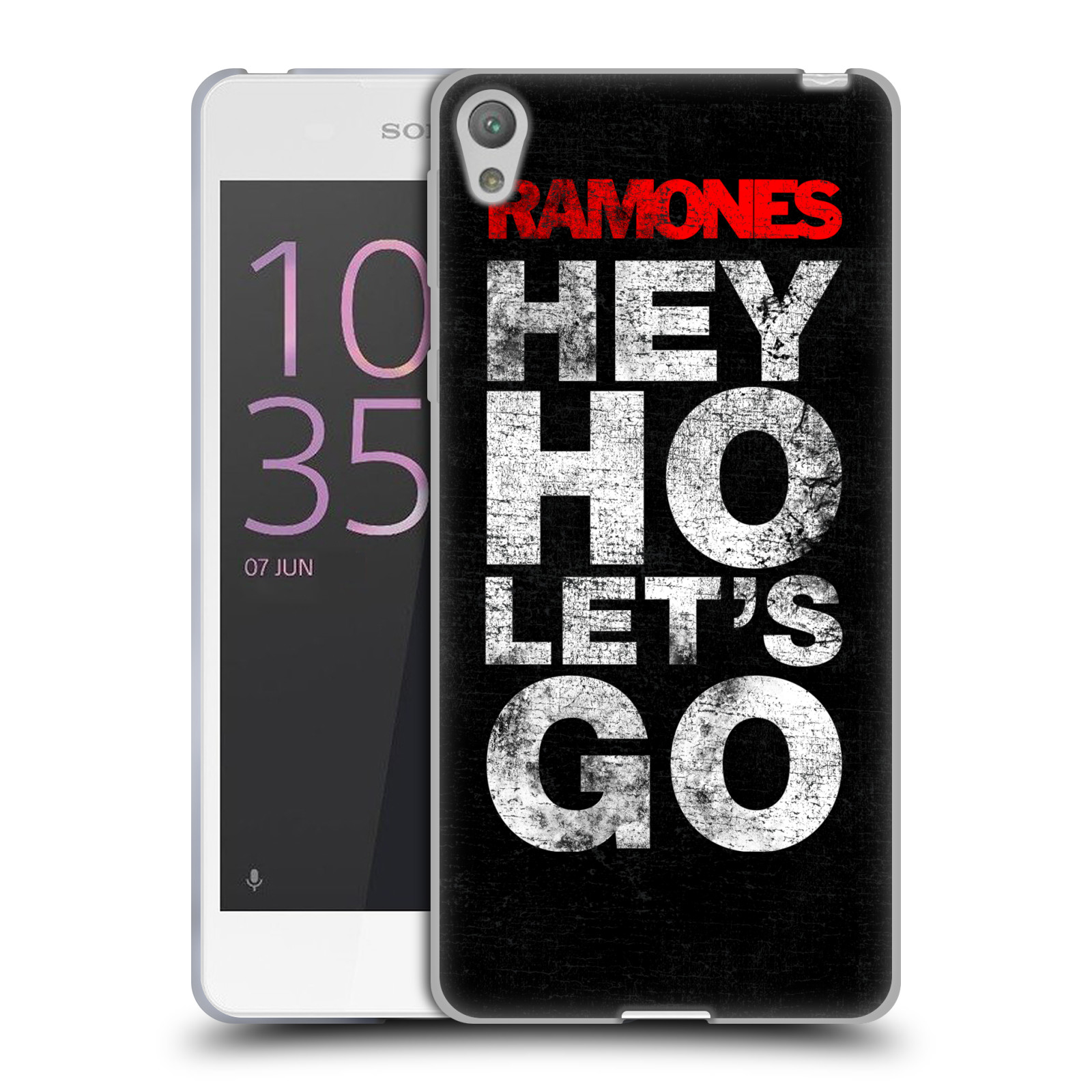 Silikonové pouzdro na mobil Sony Xperia E5 HEAD CASE The Ramones - HEY HO LET´S GO (Silikonový kryt či obal na mobilní telefon s oficiálním licencovaným motivem The Ramones pro Sony Xperia E5 F3311)
