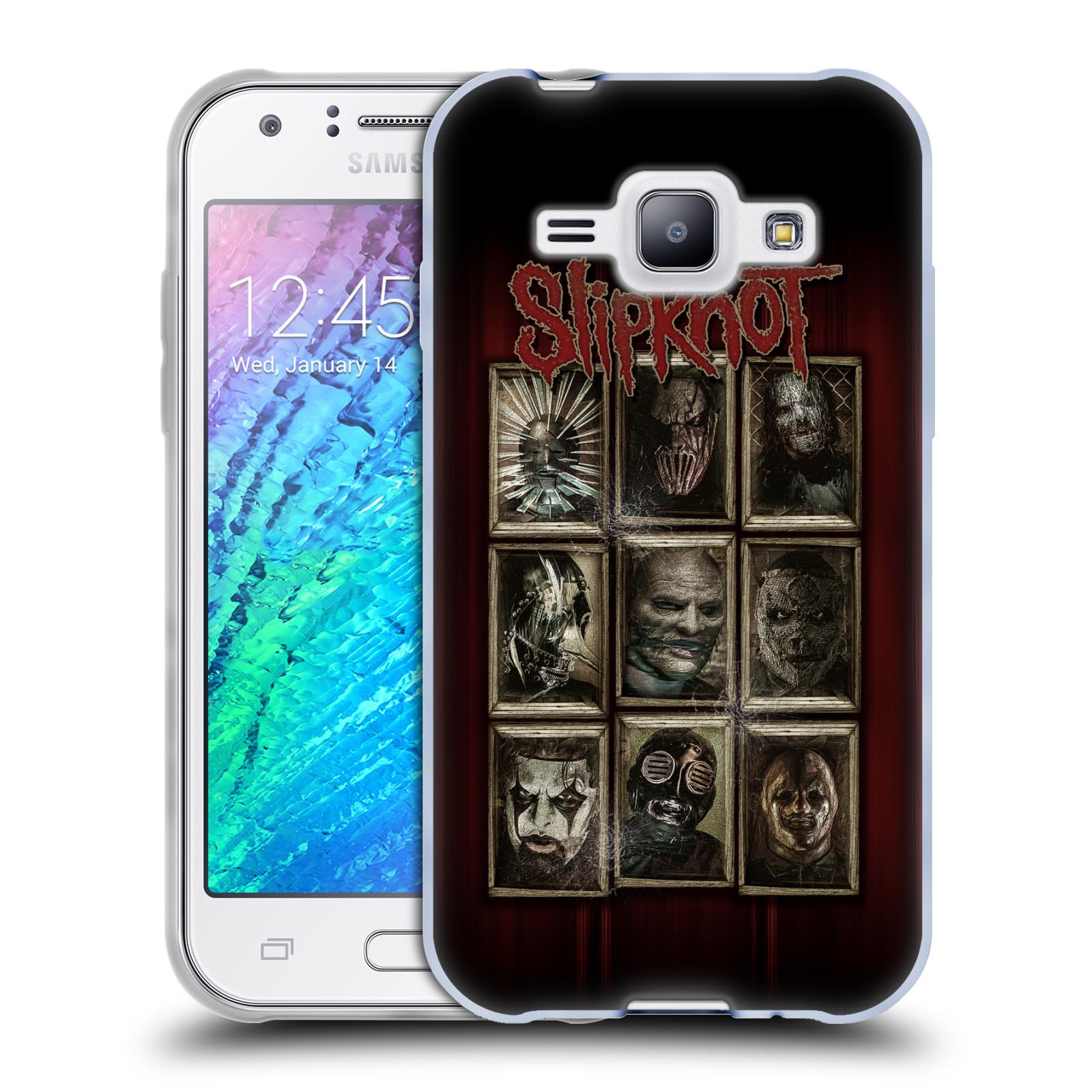 Silikonové pouzdro na mobil Samsung Galaxy J1 HEAD CASE Slipknot - Masky (Silikonový kryt či obal na mobilní telefon licencovaným motivem Slipknot pro Samsung Galaxy J1 a J1 Duos)