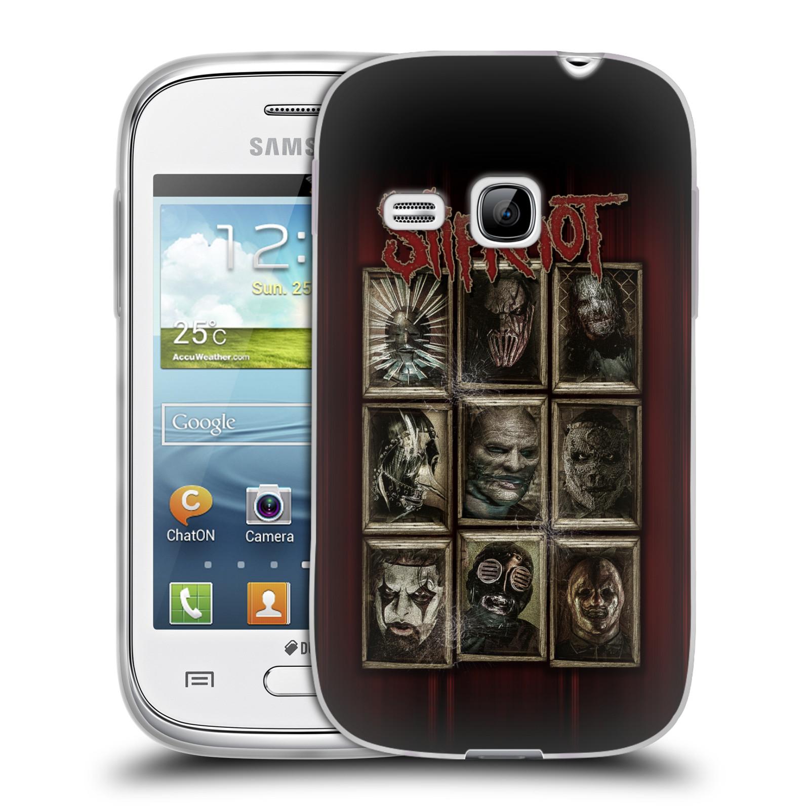 Silikonové pouzdro na mobil Samsung Galaxy Young HEAD CASE Slipknot - Masky (Silikonový kryt či obal na mobilní telefon licencovaným motivem Slipknot pro Samsung Galaxy Young GT-S6310)