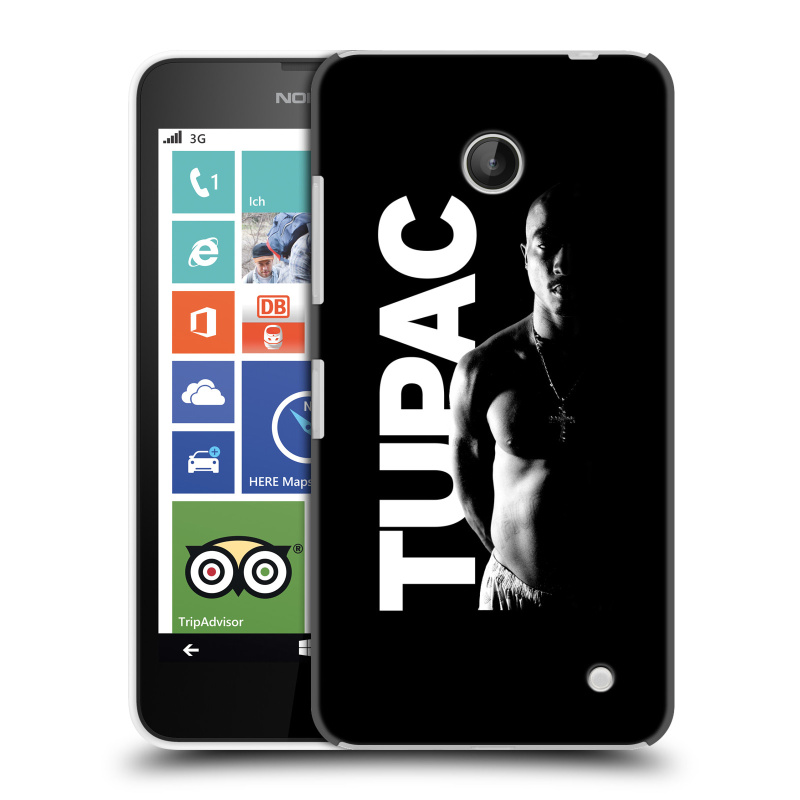 Plastové pouzdro na mobil Nokia Lumia 630 HEAD CASE TUPAC - Black and White (Plastový kryt či obal na mobilní telefon s oficiálním motivem rappera Tupaca Amaru Shakura pro Nokia Lumia 630 a Nokia Lumia 630 Dual SIM)