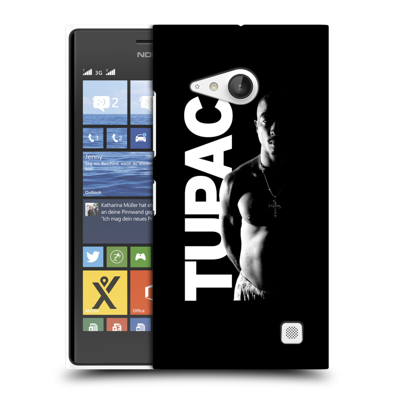 Plastové pouzdro na mobil Nokia Lumia 735 HEAD CASE TUPAC - Black and White (Plastový kryt či obal na mobilní telefon s oficiálním motivem rappera Tupaca Amaru Shakura pro Nokia Lumia 735)